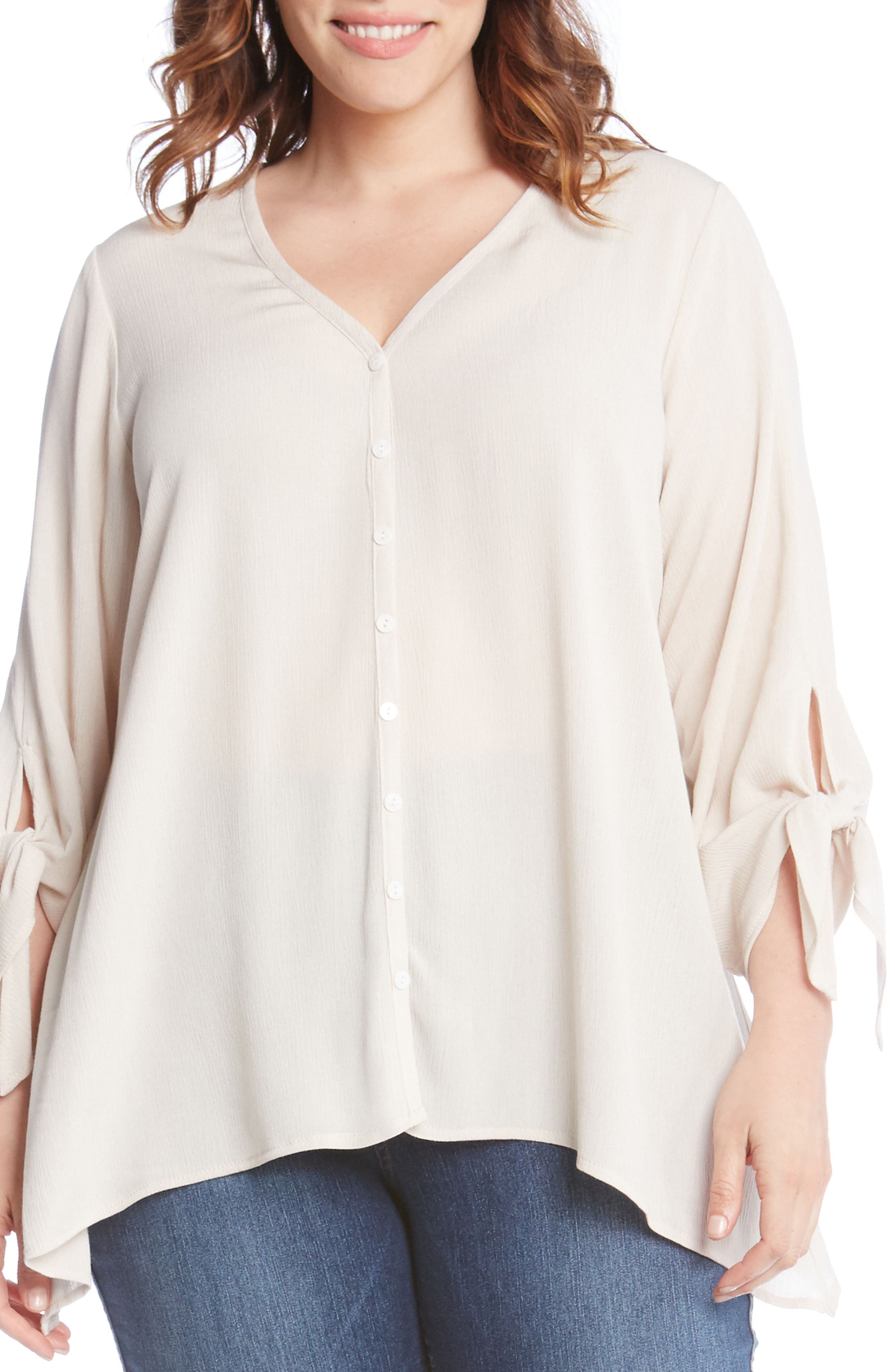 Tie Sleeve Top,                             Main thumbnail 1, color,                             Stone