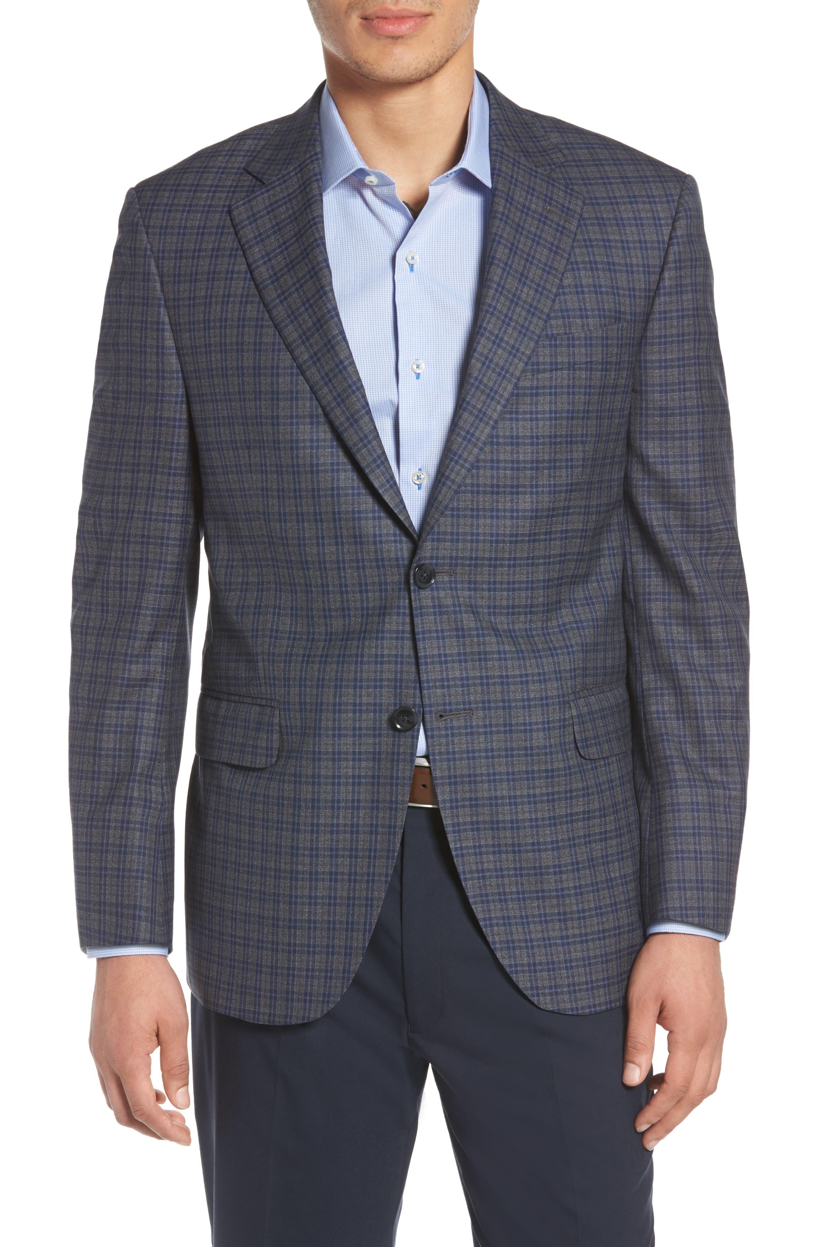 Classic Fit Check Wool Sport Coat,                             Main thumbnail 1, color,                             Grey