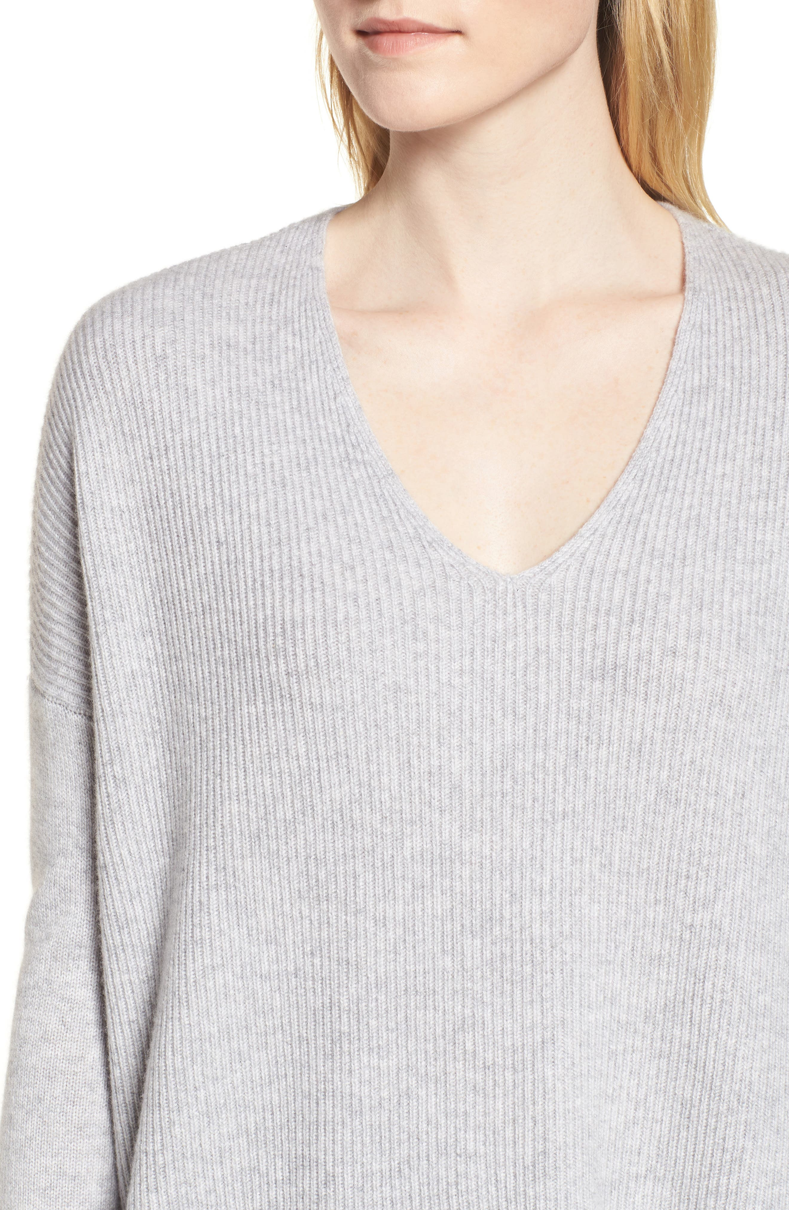 Cashmere Soft Ribbed Pullover Sweater,                             Alternate thumbnail 4, color,                             Grey Clay Heather