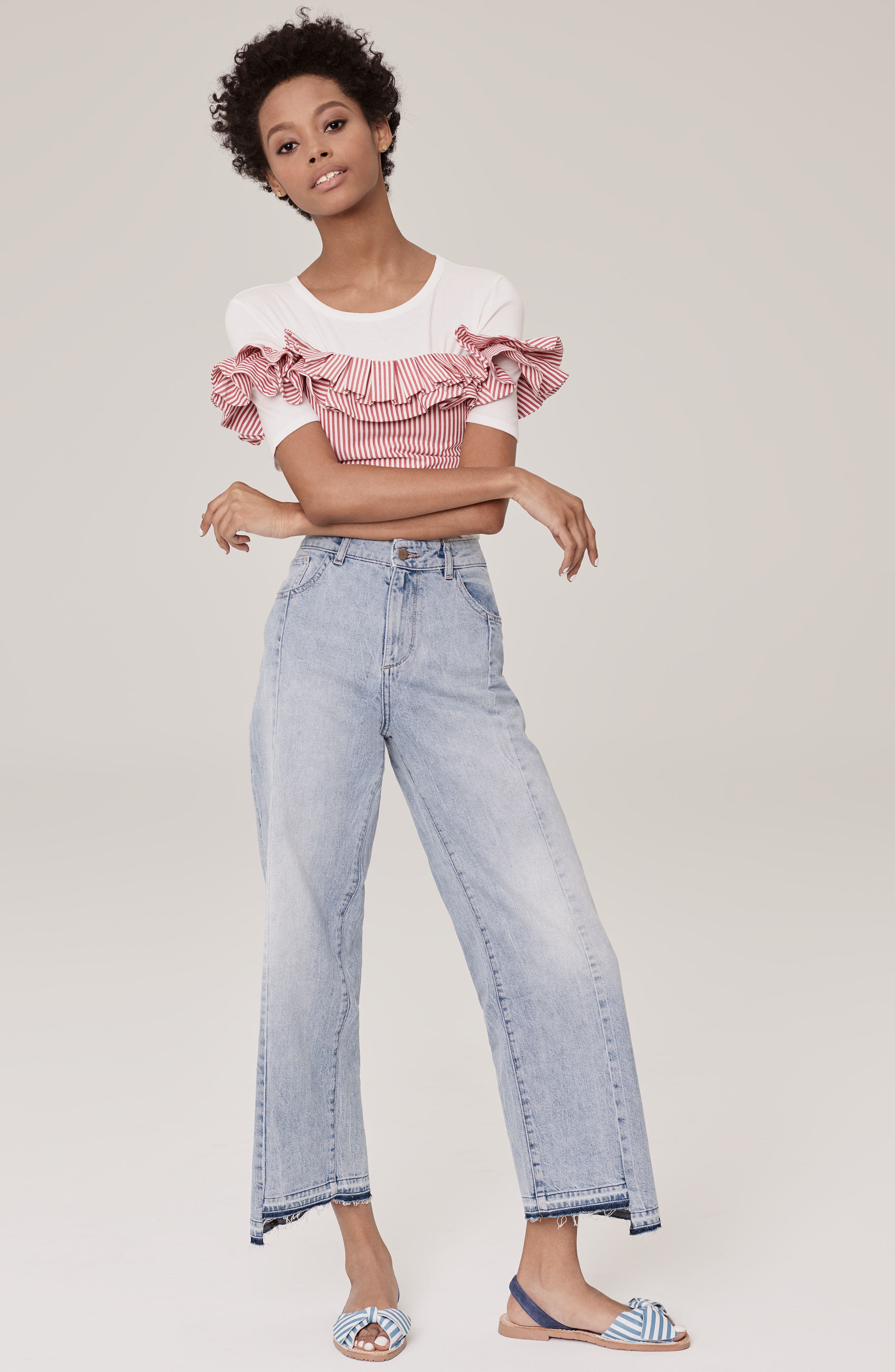 Anzio Off the Shoulder Ruffle Crop Top,                             Alternate thumbnail 7, color,                             Red Stripe