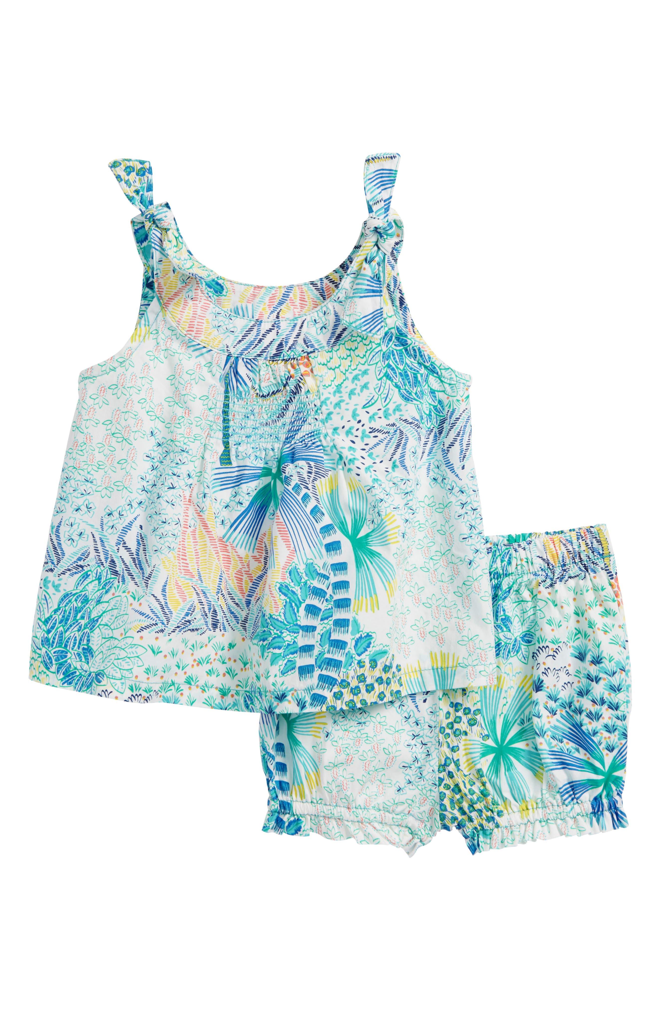 Tropical Floral Top & Shorts Set,                             Main thumbnail 1, color,                             Tropical Palms
