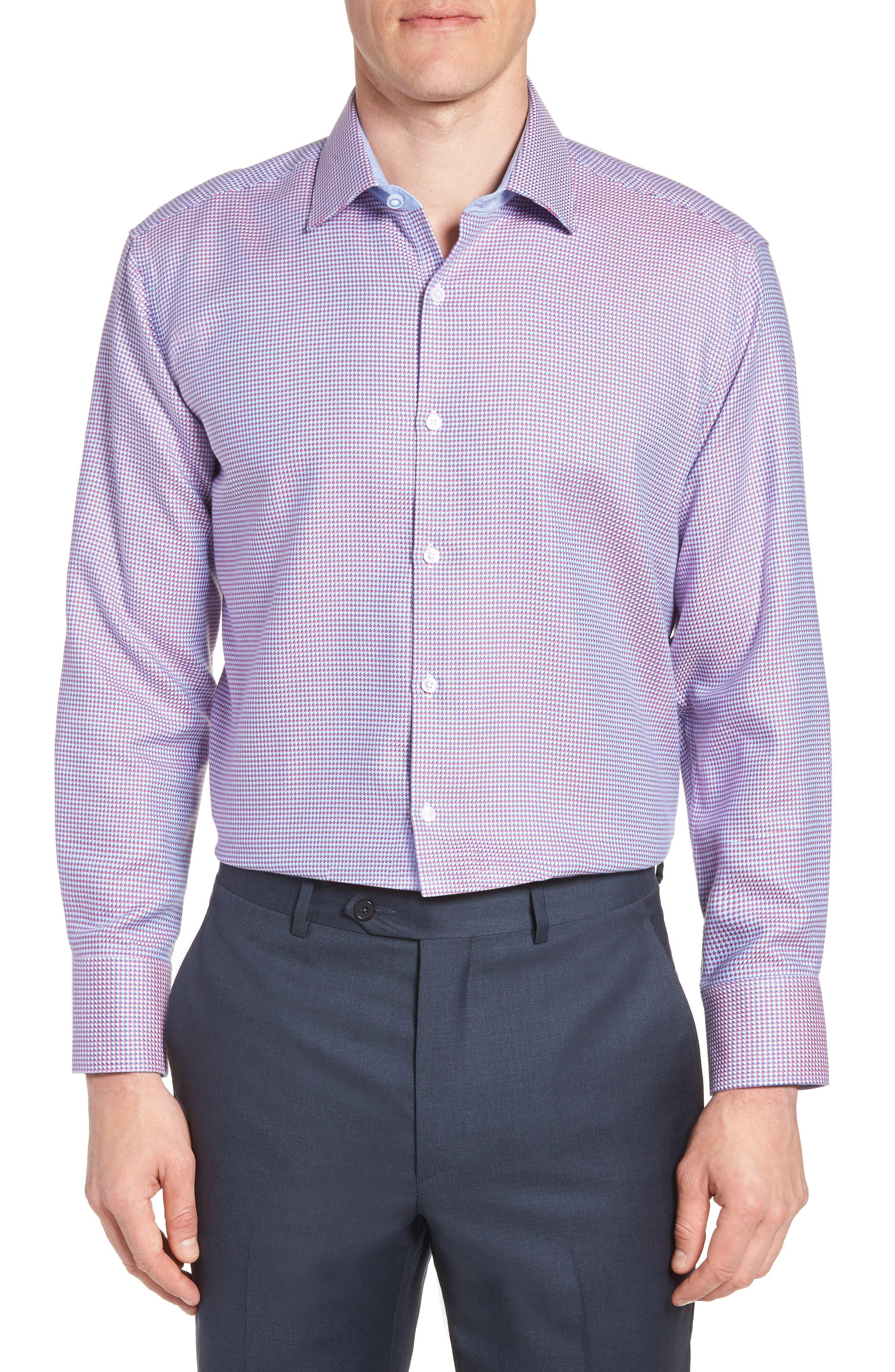 Axton Trim Fit Geometric Dress Shirt,                             Main thumbnail 1, color,                             Red/ Blue