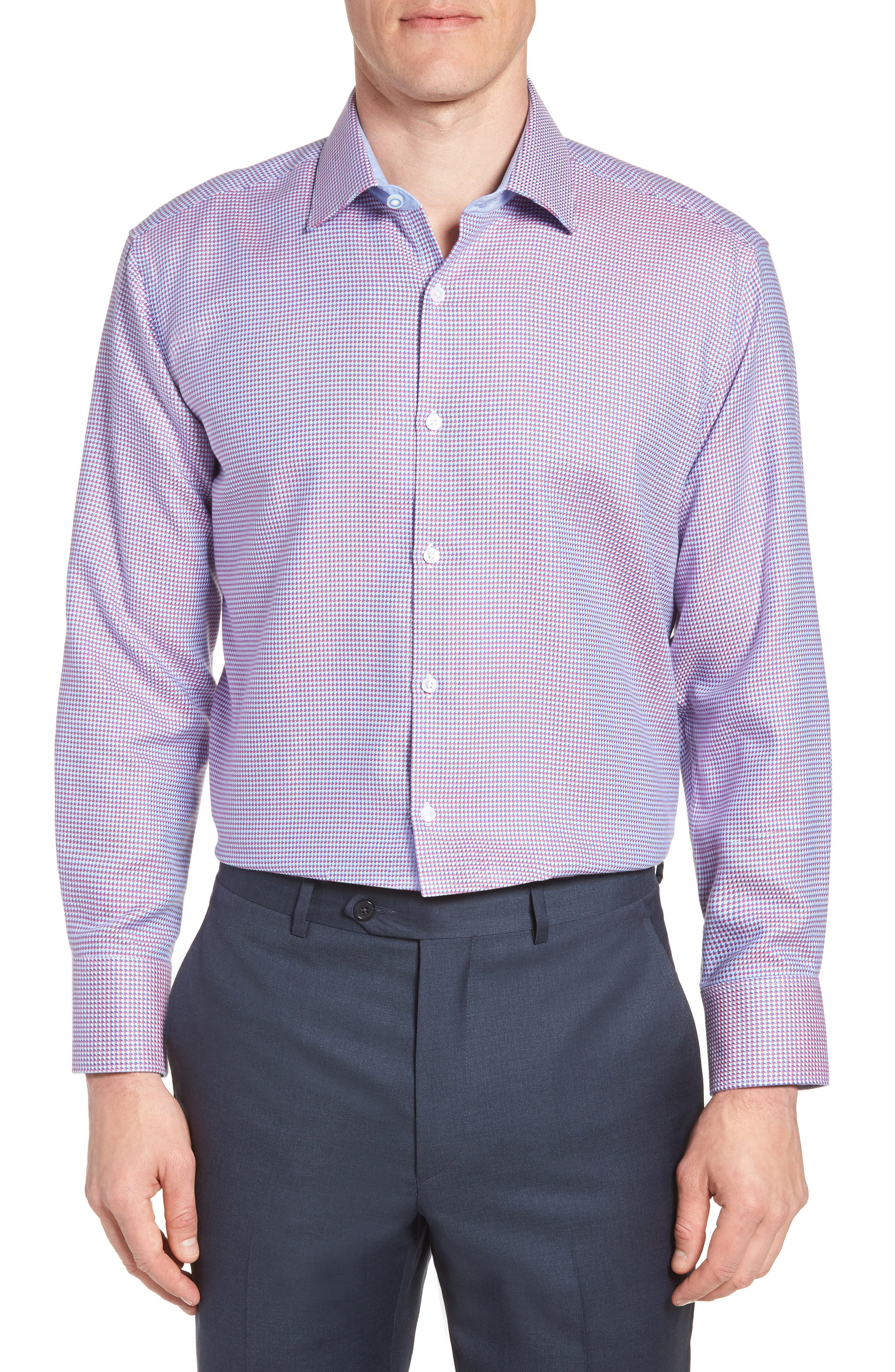 Axton Trim Fit Geometric Dress Shirt,                         Main,                         color, Red/ Blue