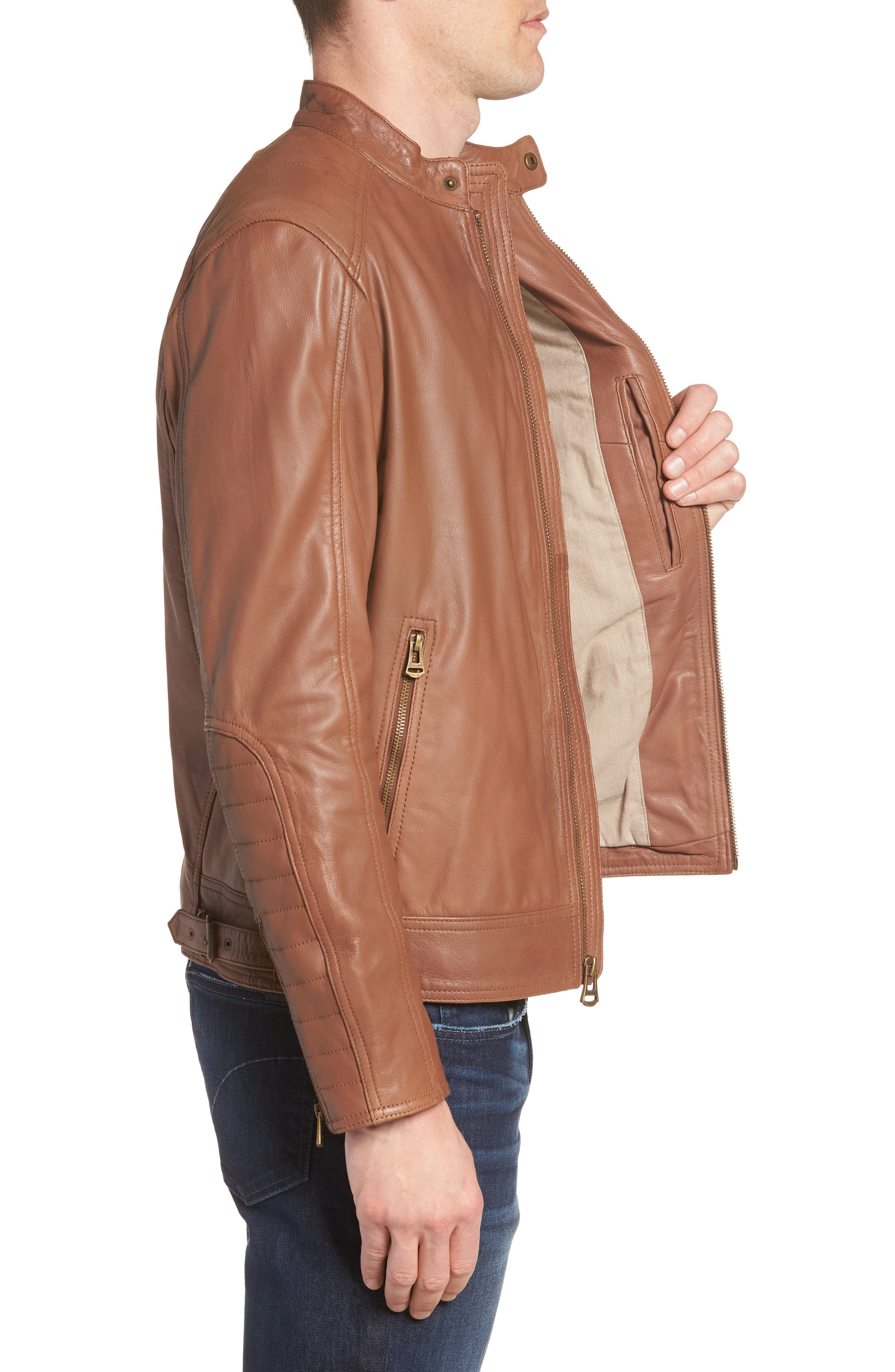 Washed Leather Moto Jacket,                             Alternate thumbnail 3, color,                             Cognac