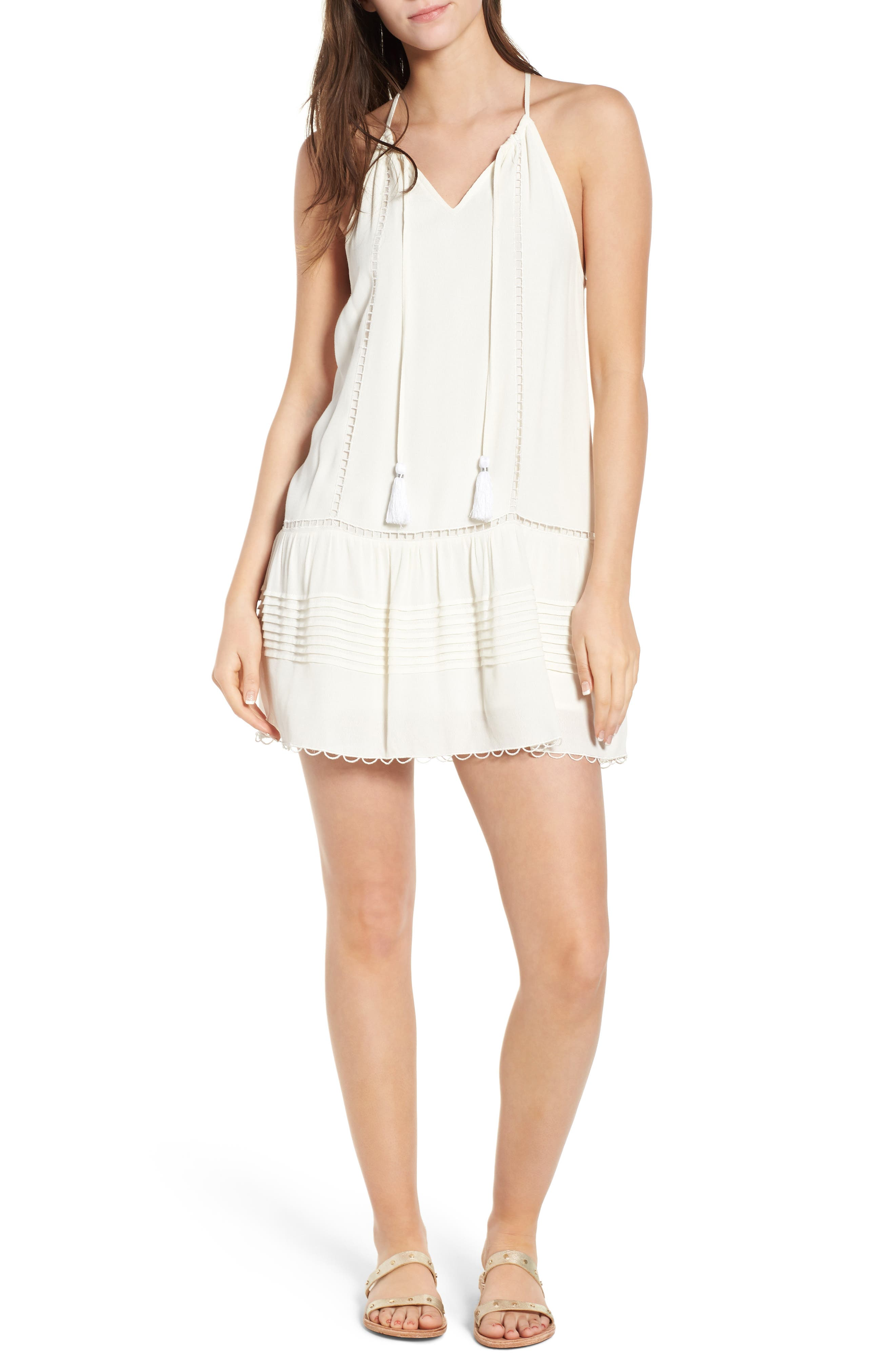 Sincerely Embroidered Minidress,                         Main,                         color, Ivory