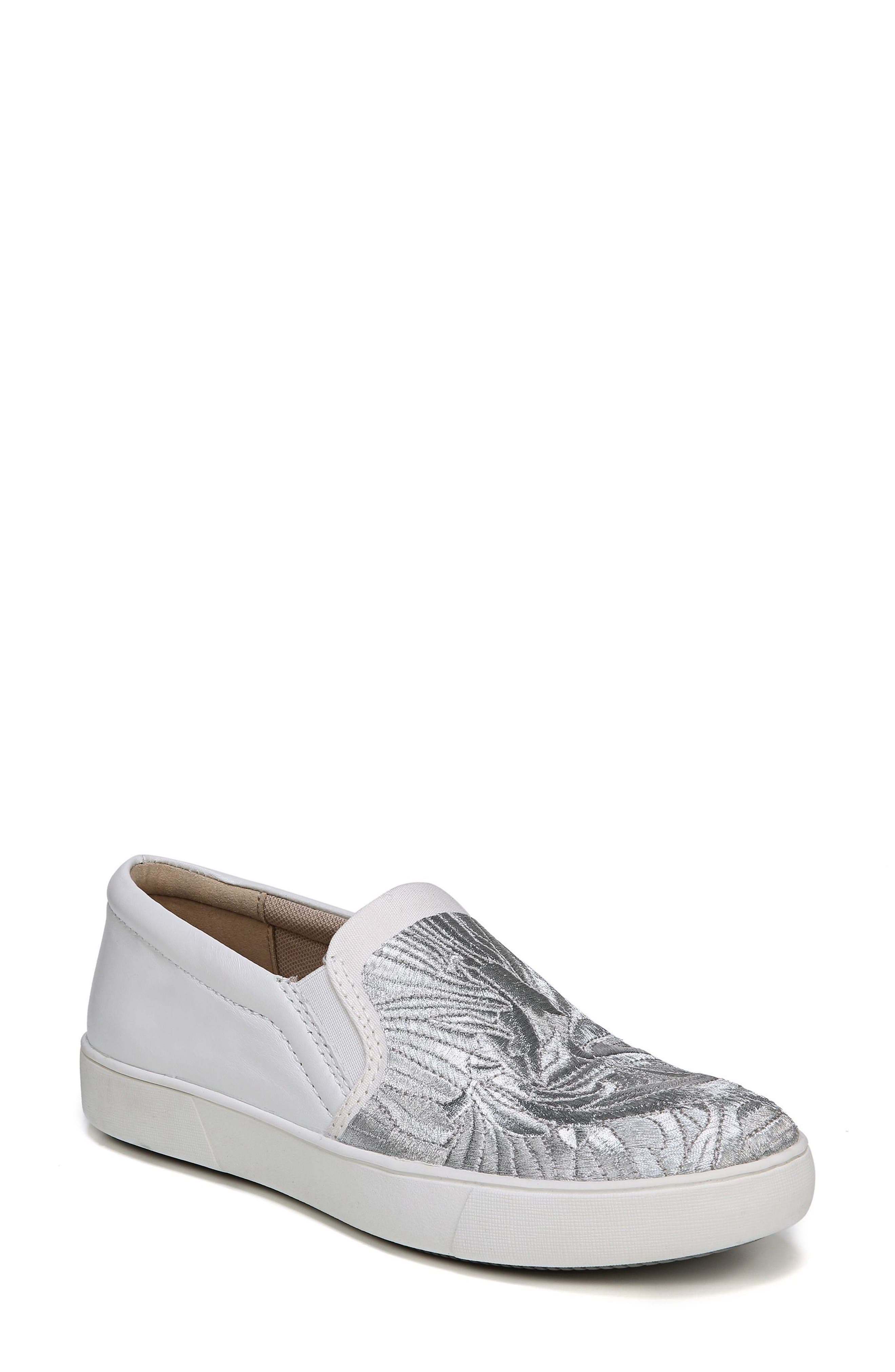 Marianne Slip-On Sneaker,                             Main thumbnail 1, color,                             White/ Silver Leather