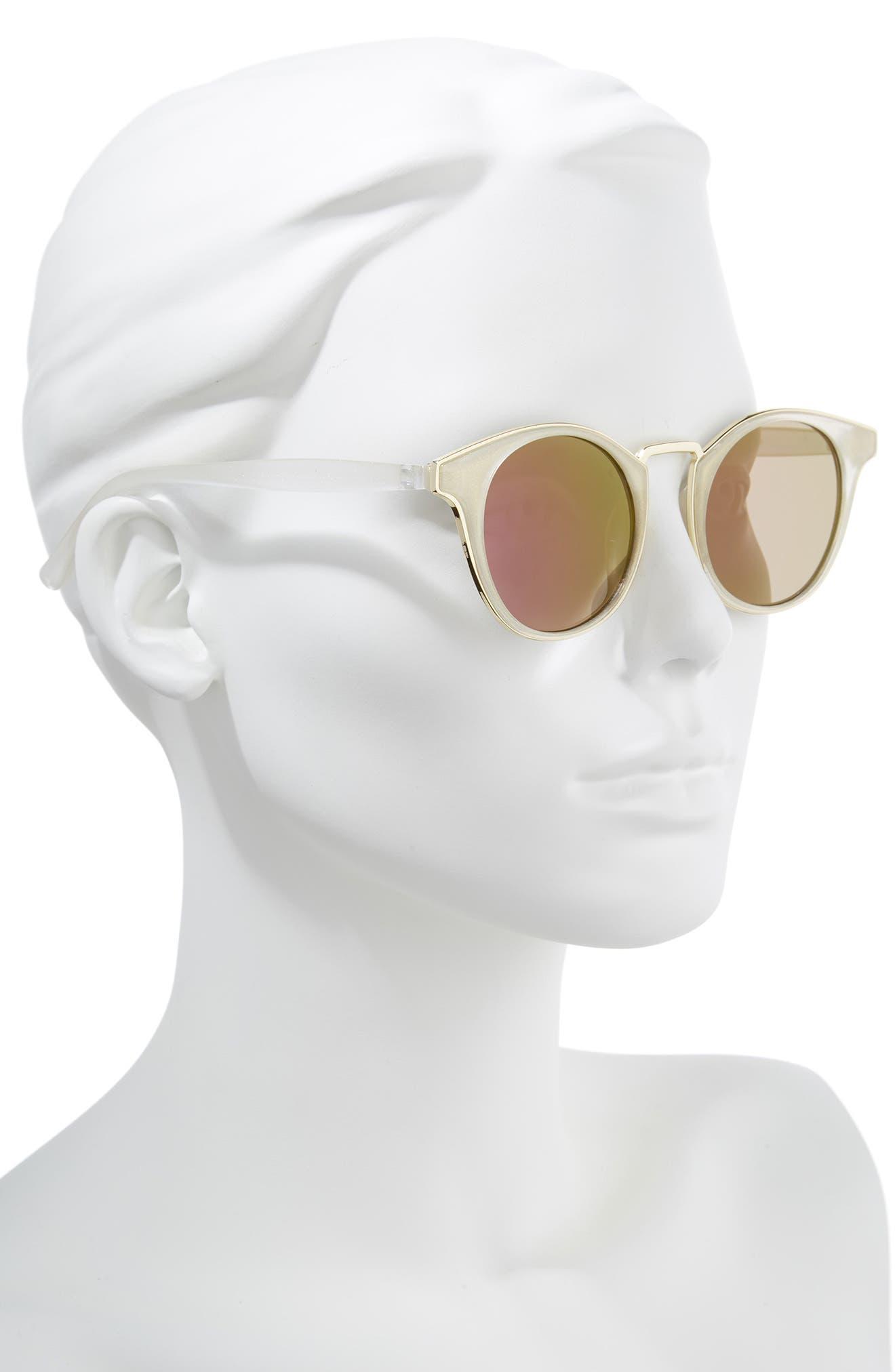 47mm Metal Trim Round Sunglasses,                             Alternate thumbnail 2, color,                             Clear/ Blue