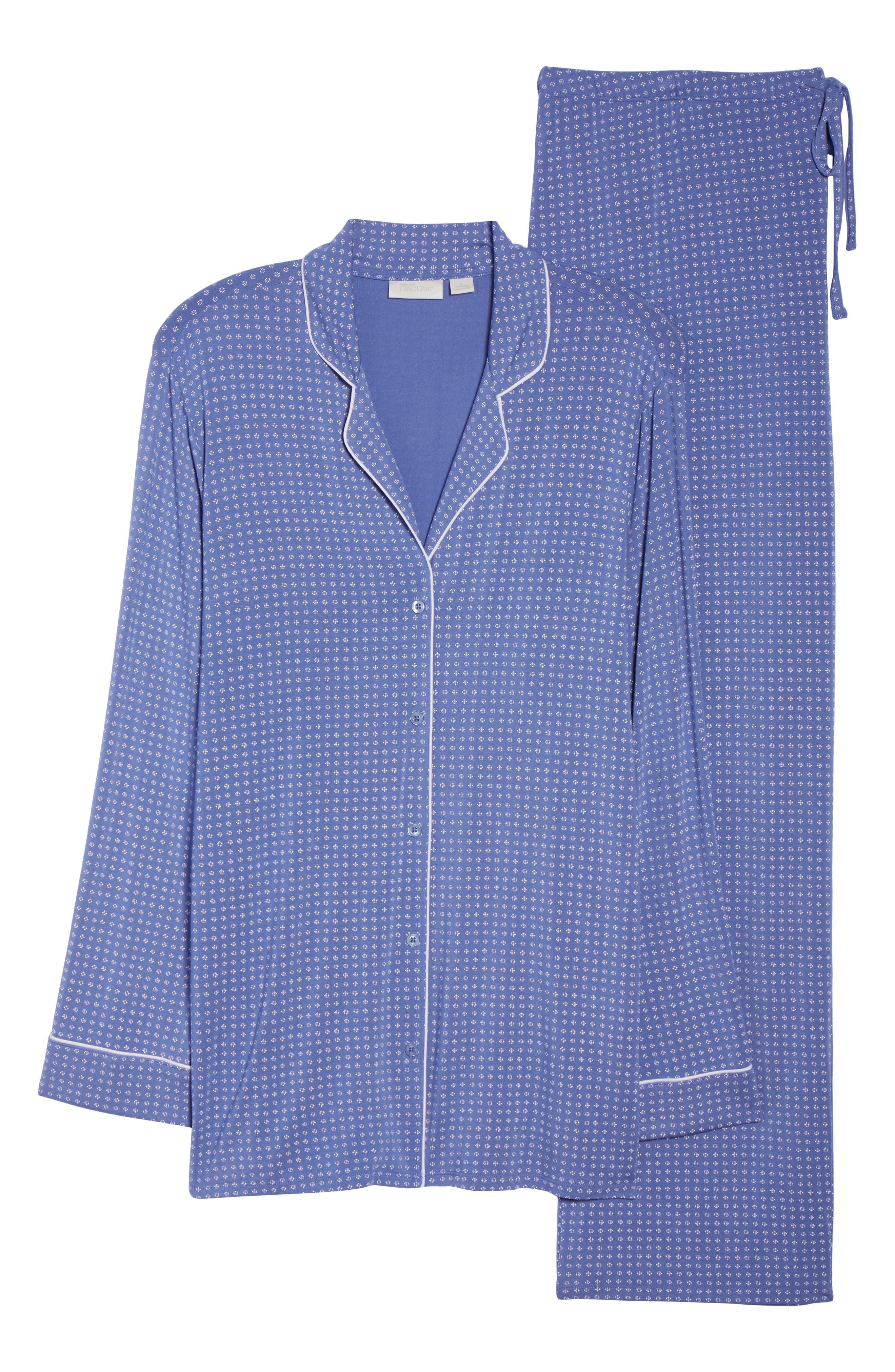'Moonlight' Pajamas,                             Alternate thumbnail 6, color,                             Blue Denim Geo