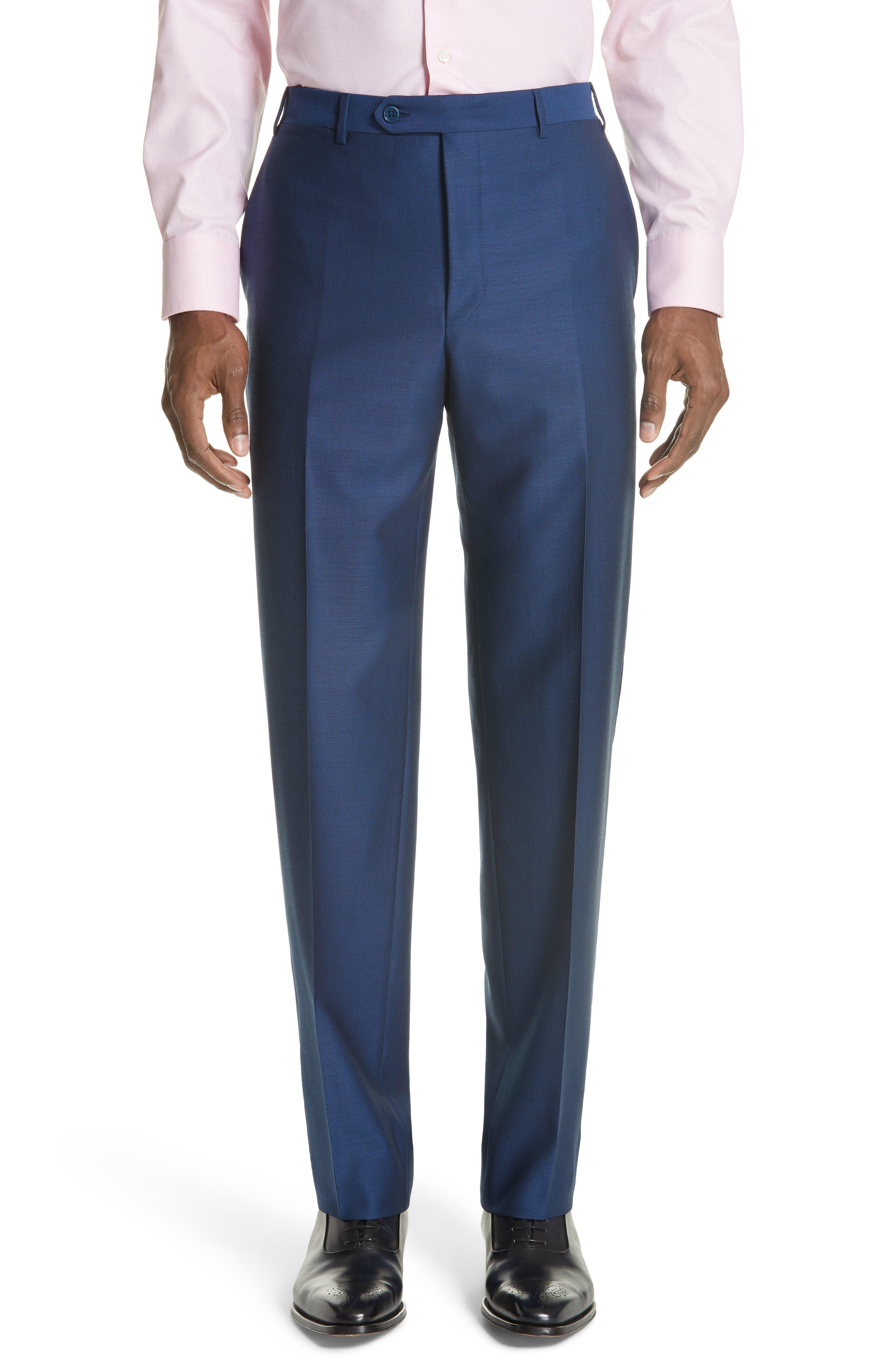Classic Fit Solid Wool Suit,                             Alternate thumbnail 6, color,                             Blue