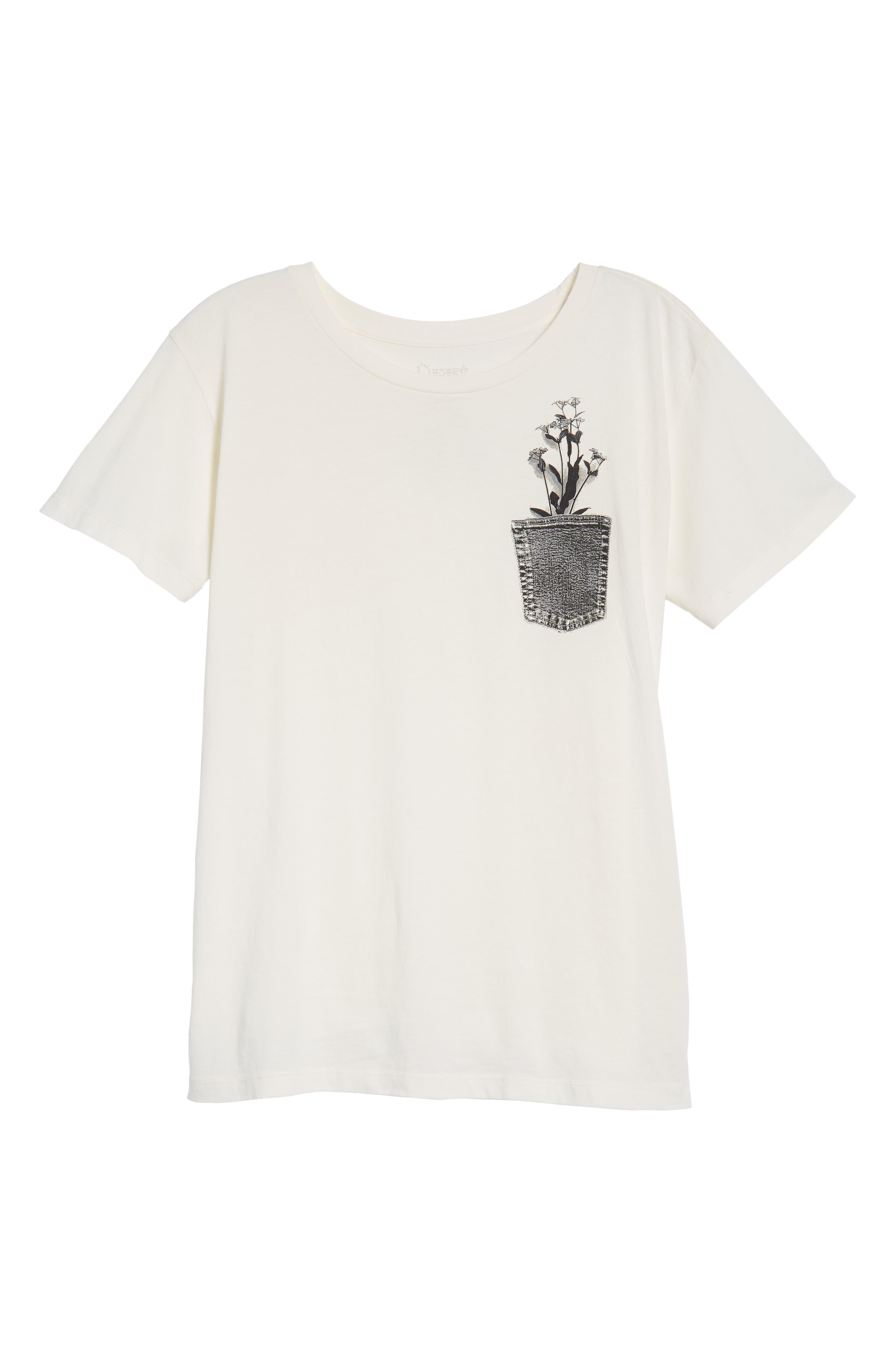 Flower Pocket Tee,                             Alternate thumbnail 7, color,                             Washed White