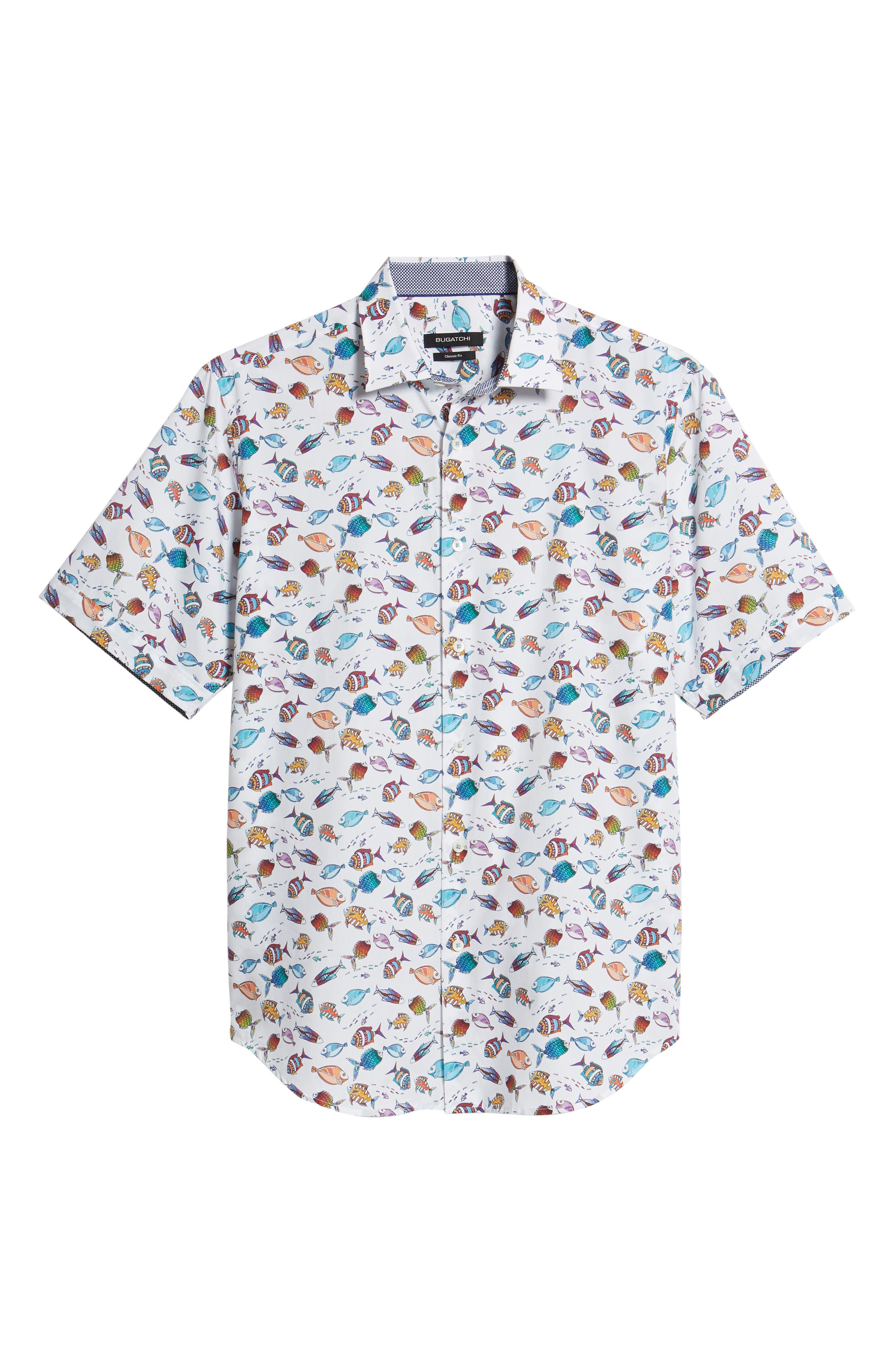 Classic Fit Fish Print Sport Shirt,                             Alternate thumbnail 6, color,                             Seafoam