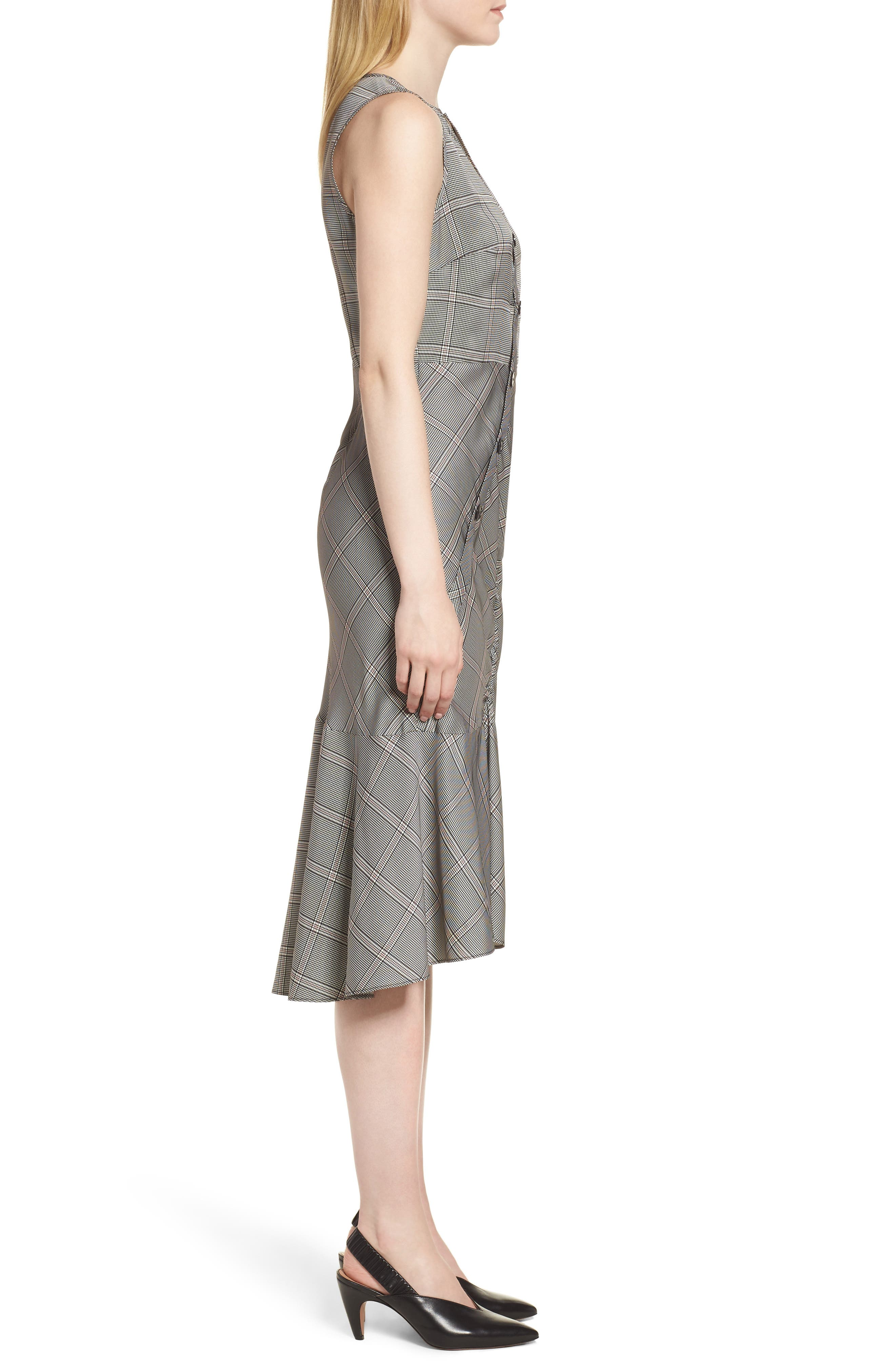 Seam Detail Sleeveless Check Dress,                             Alternate thumbnail 3, color,                             Black York Check