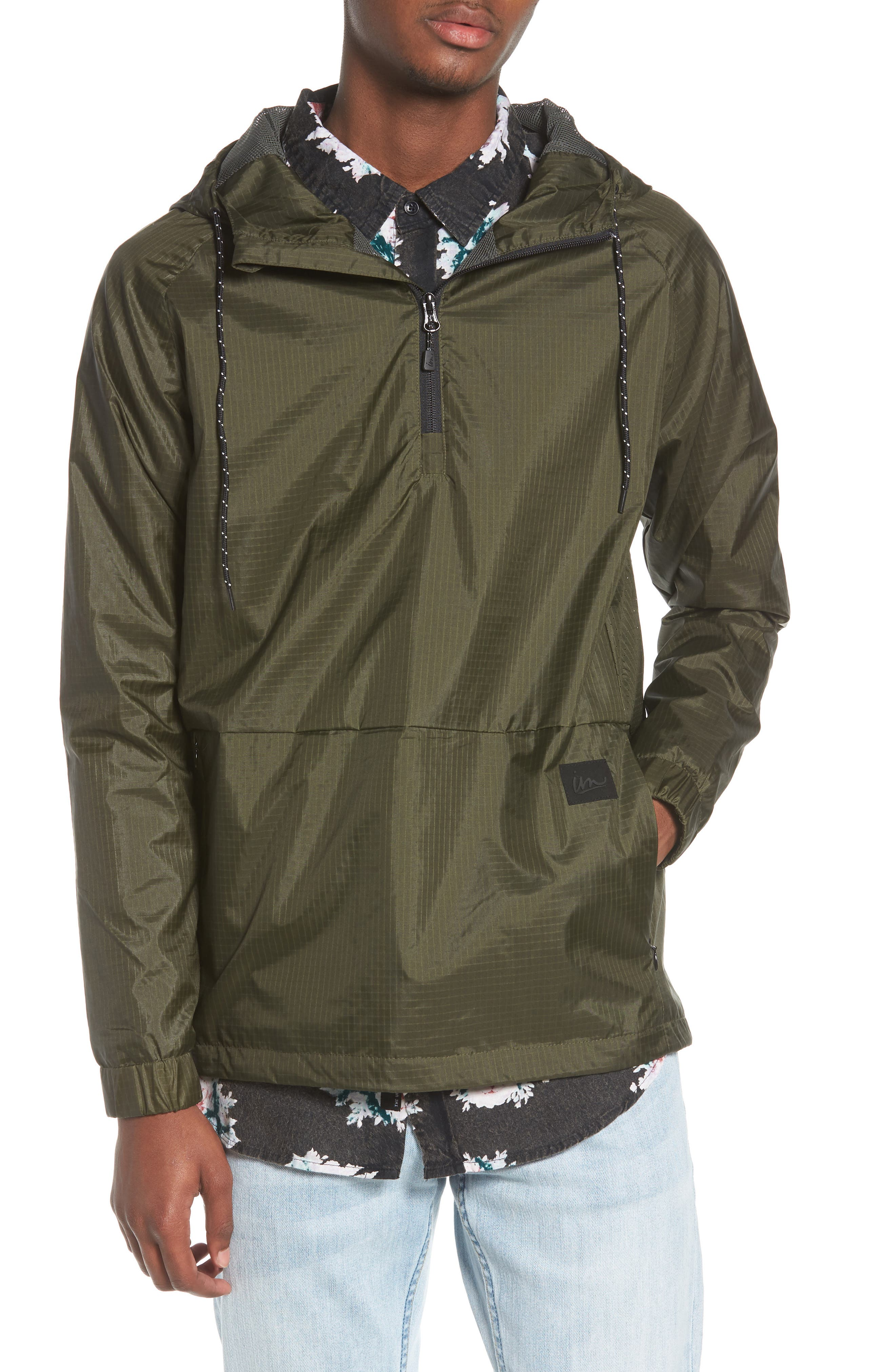 NCT Bezel Packable Anorak,                         Main,                         color, Olive