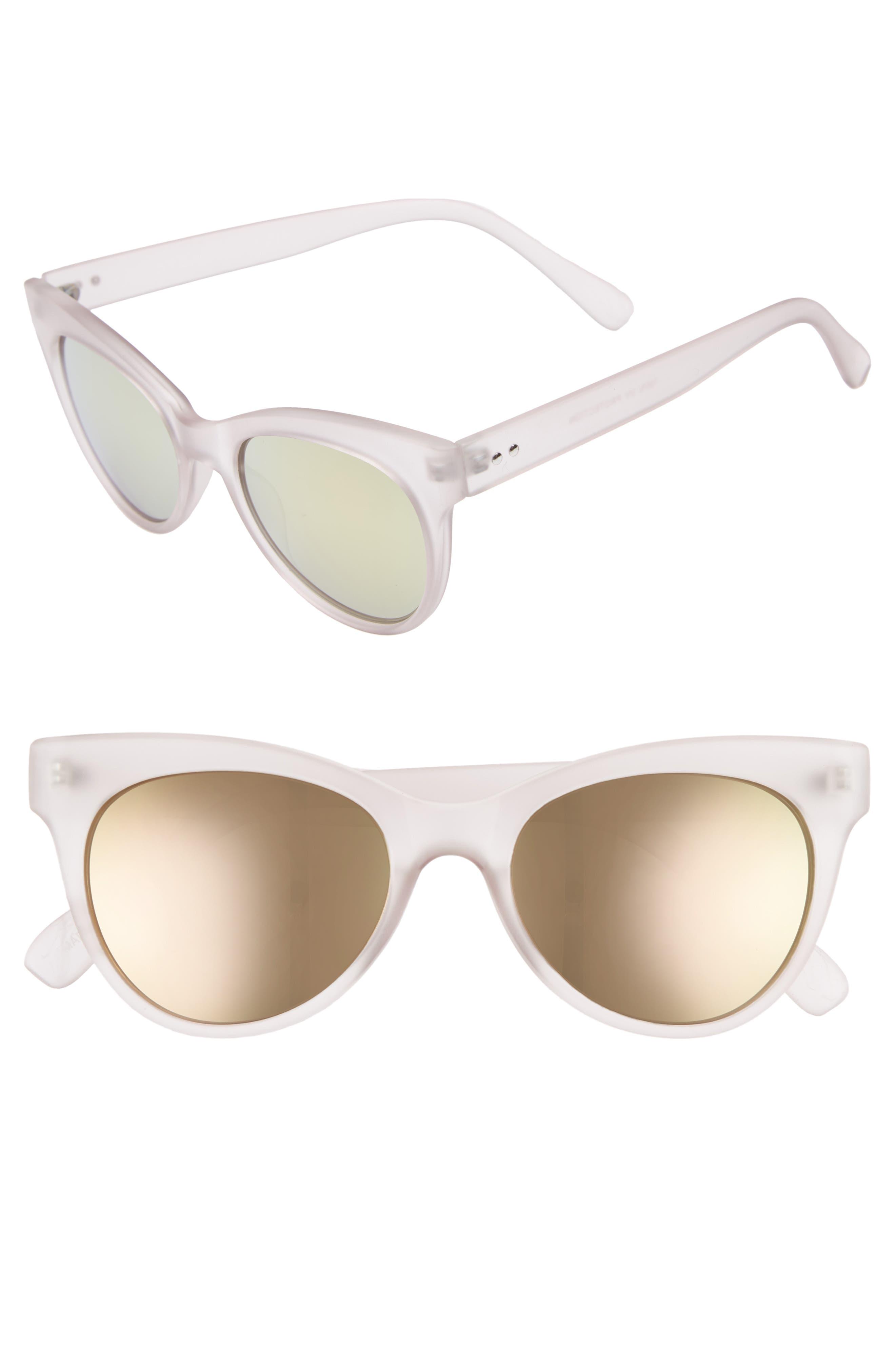 56mm Cat Eye Sunglasses,                             Main thumbnail 1, color,                             Milky Pink/ Pink