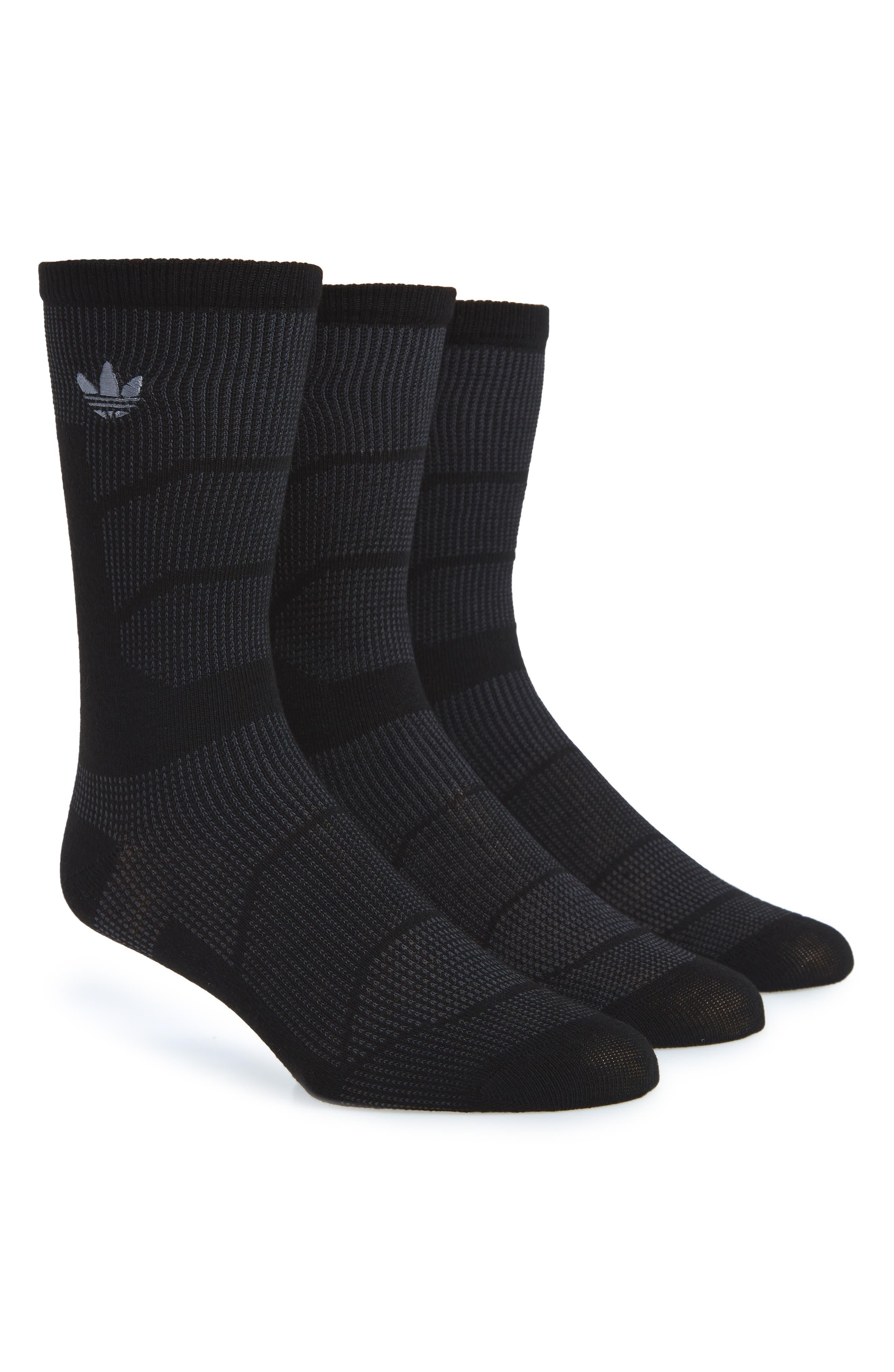 Prime Mesh II 3-Pack Crew Socks,                             Main thumbnail 1, color,                             Black/ Onyx