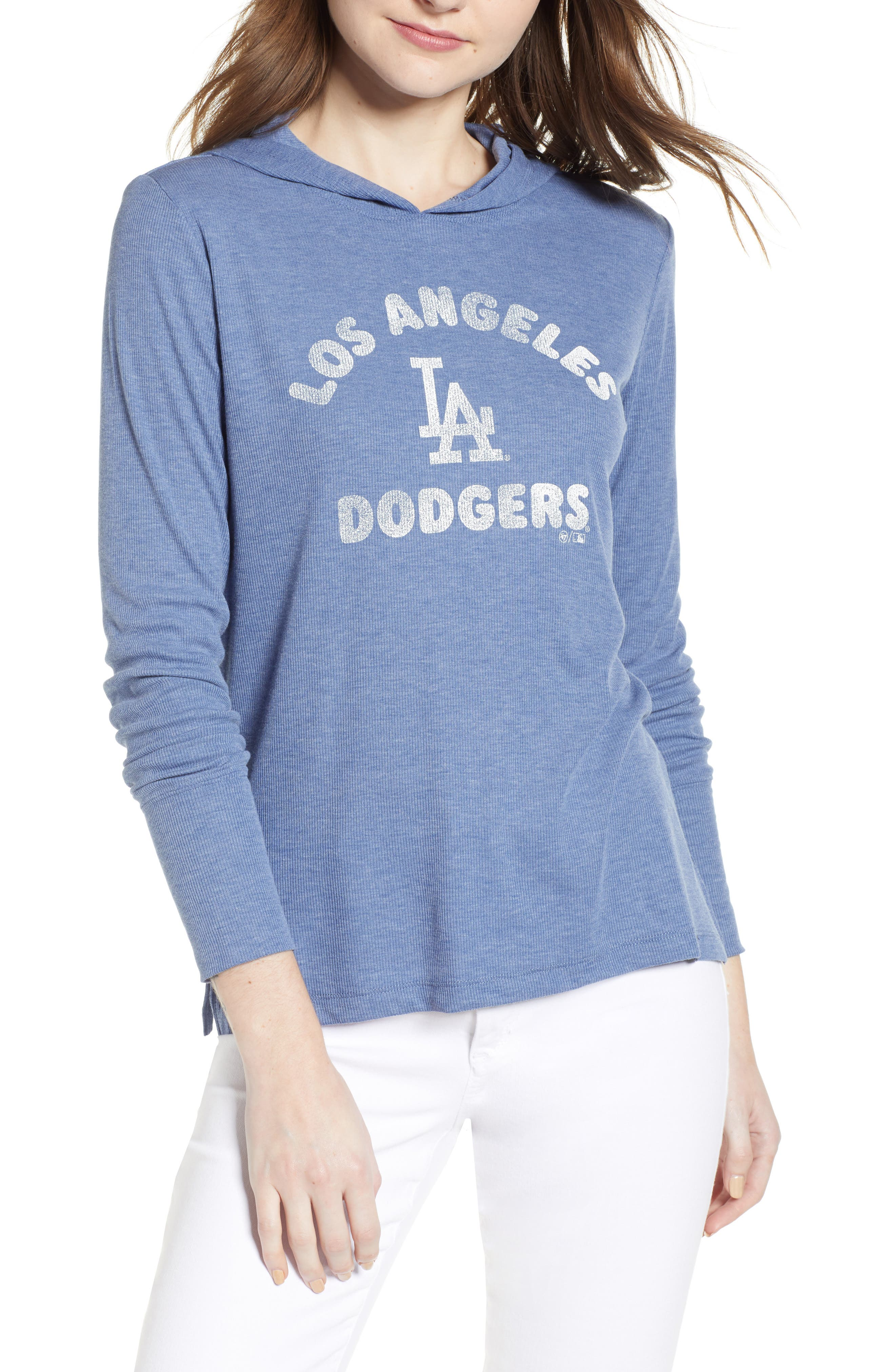 Campbell Los Angeles Dodgers Rib Knit Hooded Top,                             Main thumbnail 1, color,                             Bleacher Blue