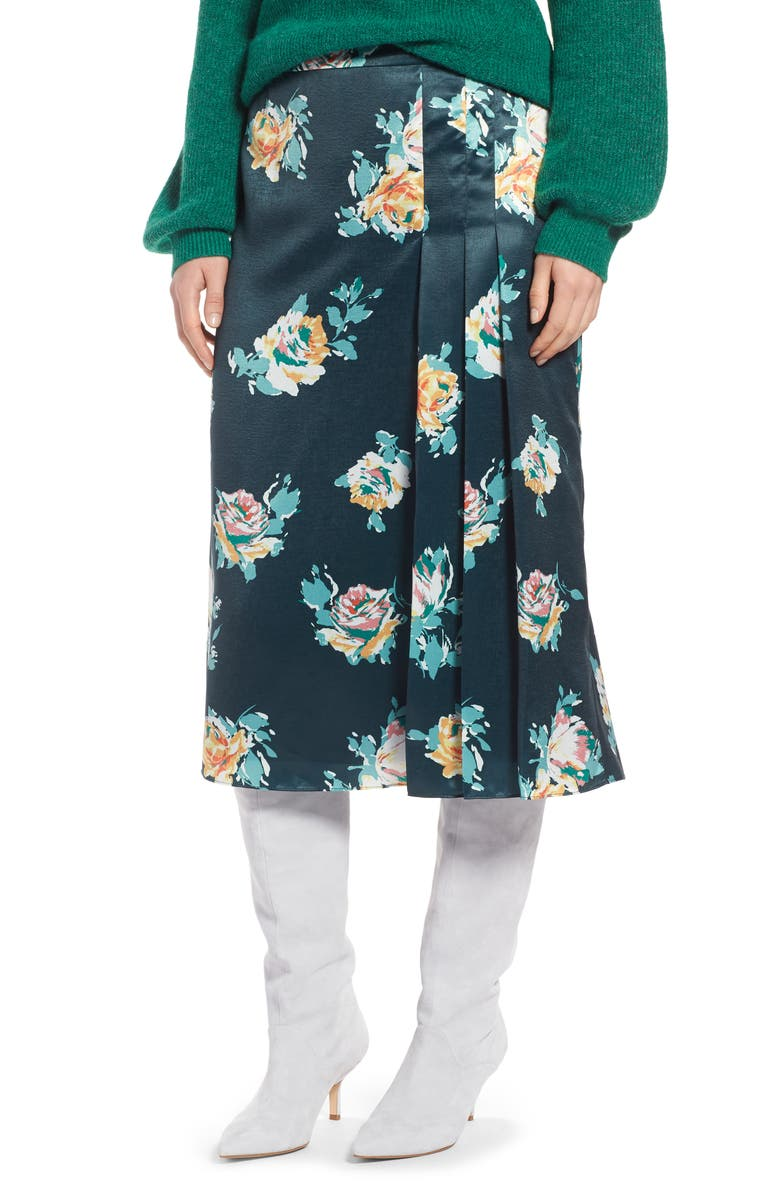 Pleat Detail Midi Skirt