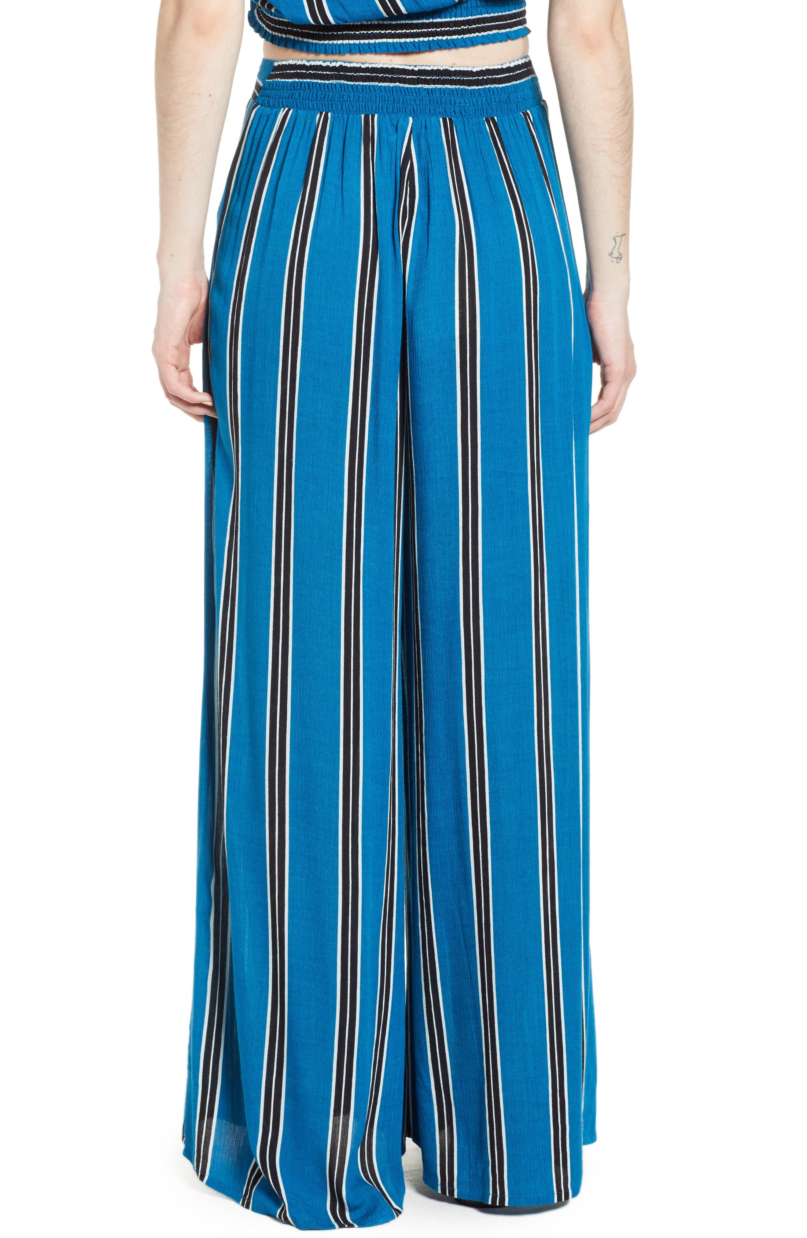 Stripe Wide Leg Pants,                             Alternate thumbnail 3, color,                             Blue/ Black