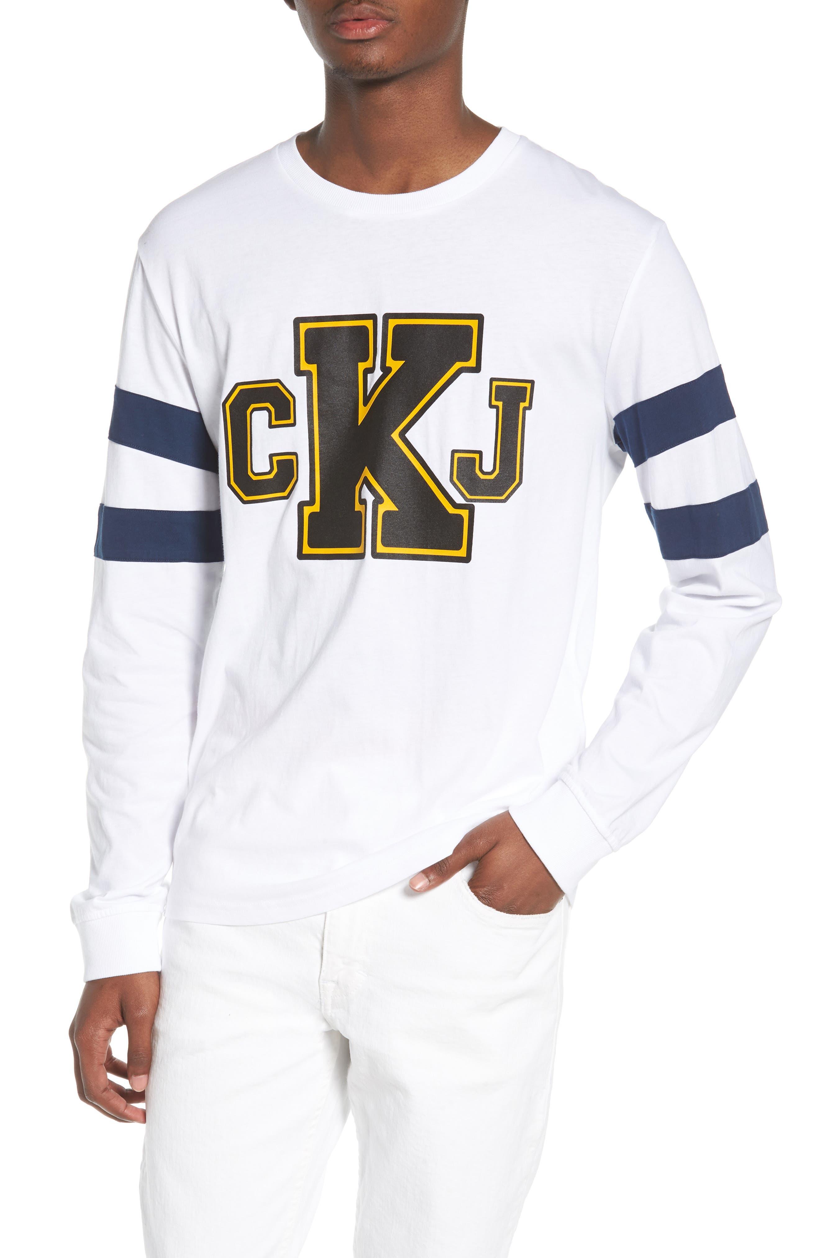 Stripe Sleeve Logo T-Shirt,                             Main thumbnail 1, color,                             Standard White