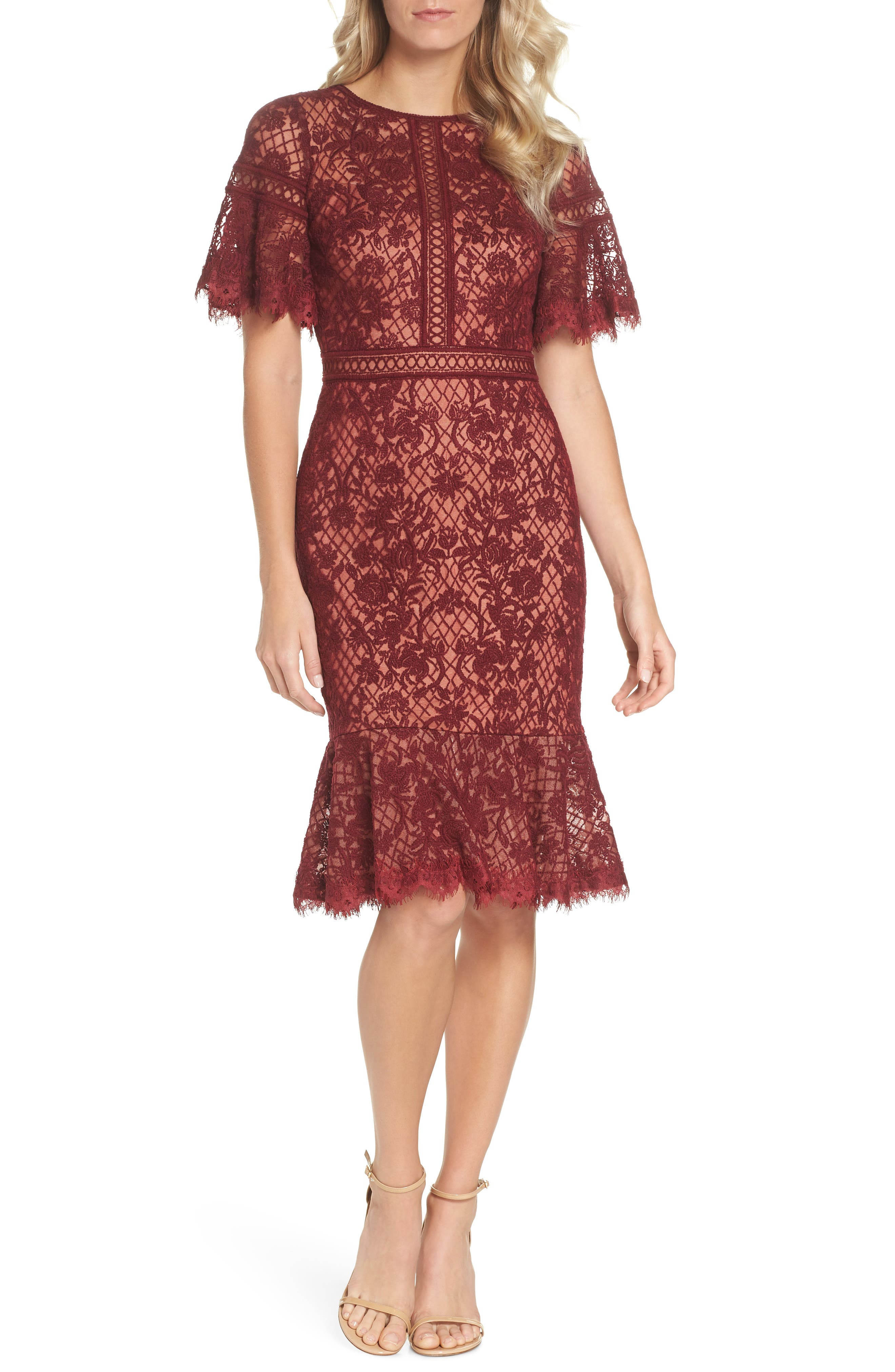 Embroidered Mesh Dress,                             Main thumbnail 1, color,                             Autumn/ Nude