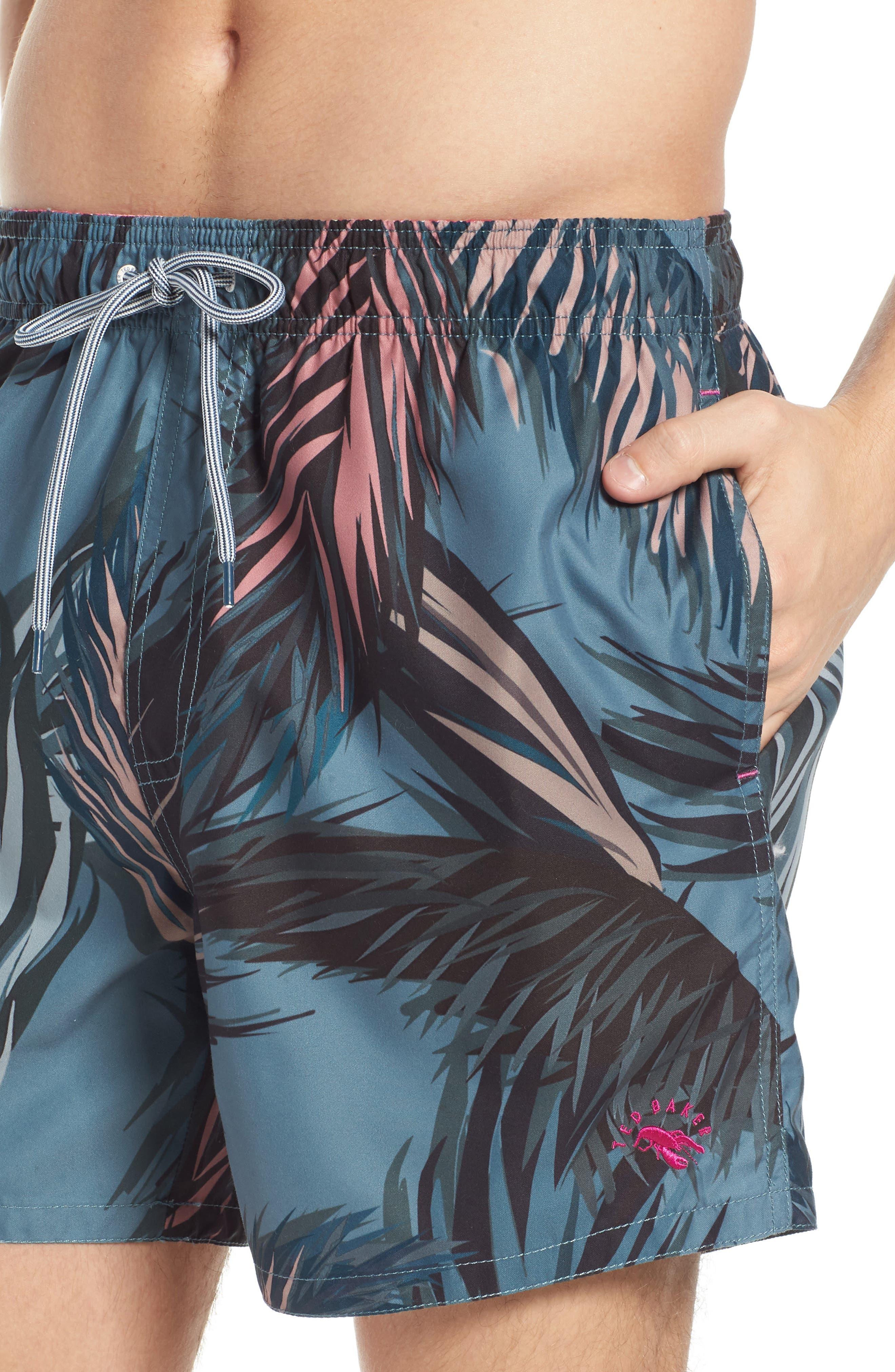 Raynebo Slim Fit Palm Leaf Swim Trunks,                             Alternate thumbnail 4, color,                             Dark Green