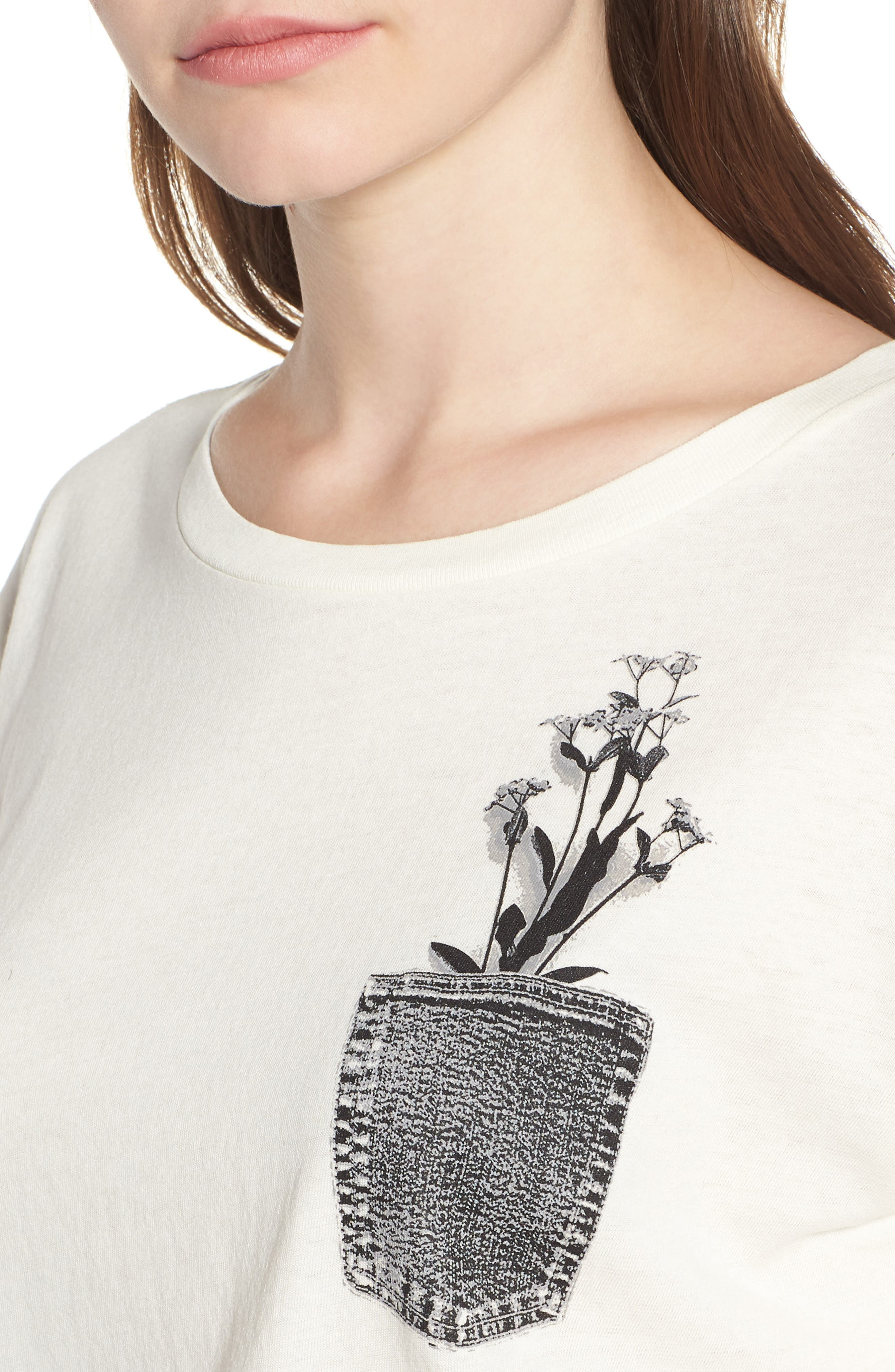 Flower Pocket Tee,                             Alternate thumbnail 4, color,                             Washed White