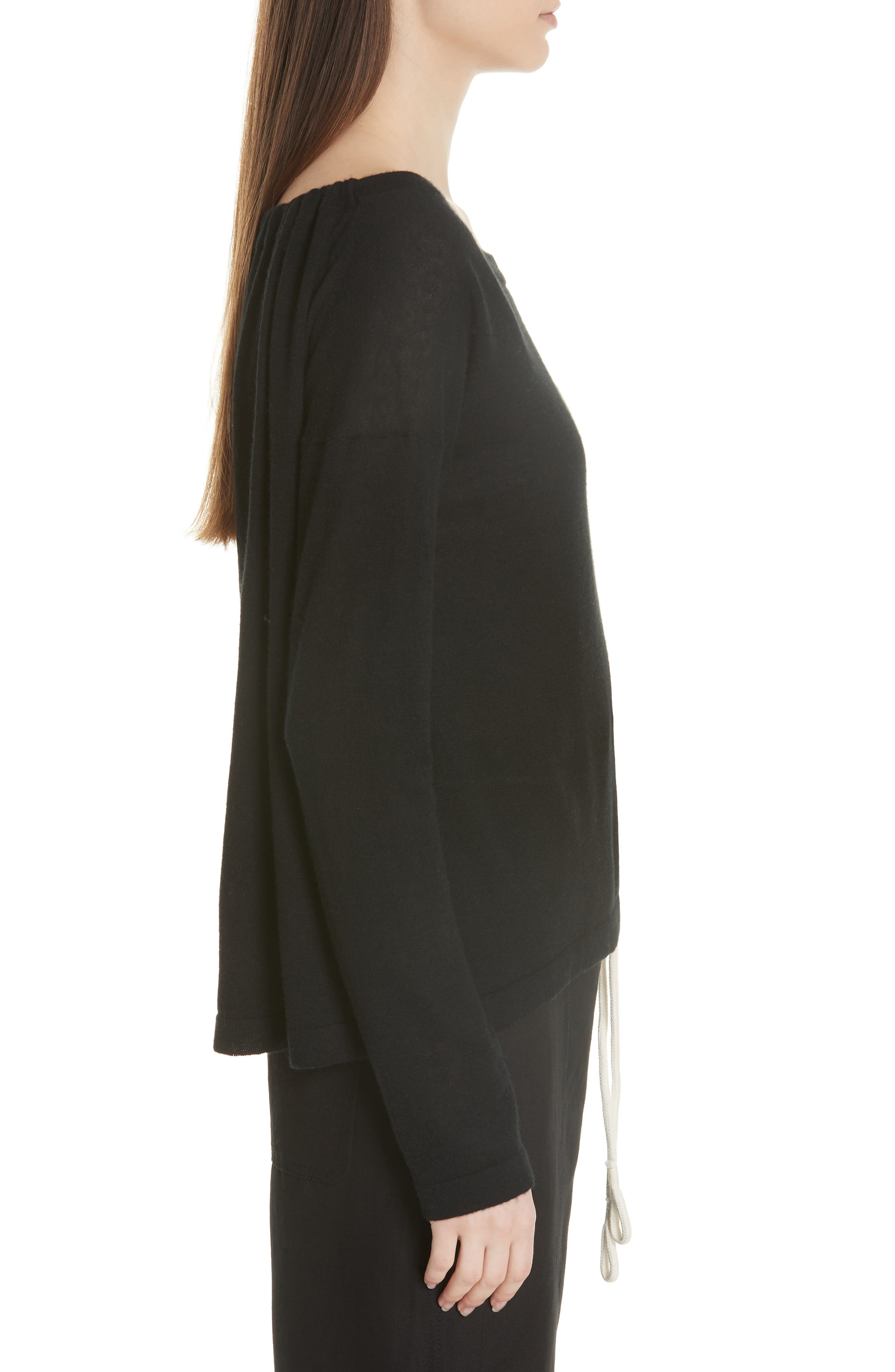 Cinched Back Cashmere Sweater,                             Alternate thumbnail 3, color,                             Black