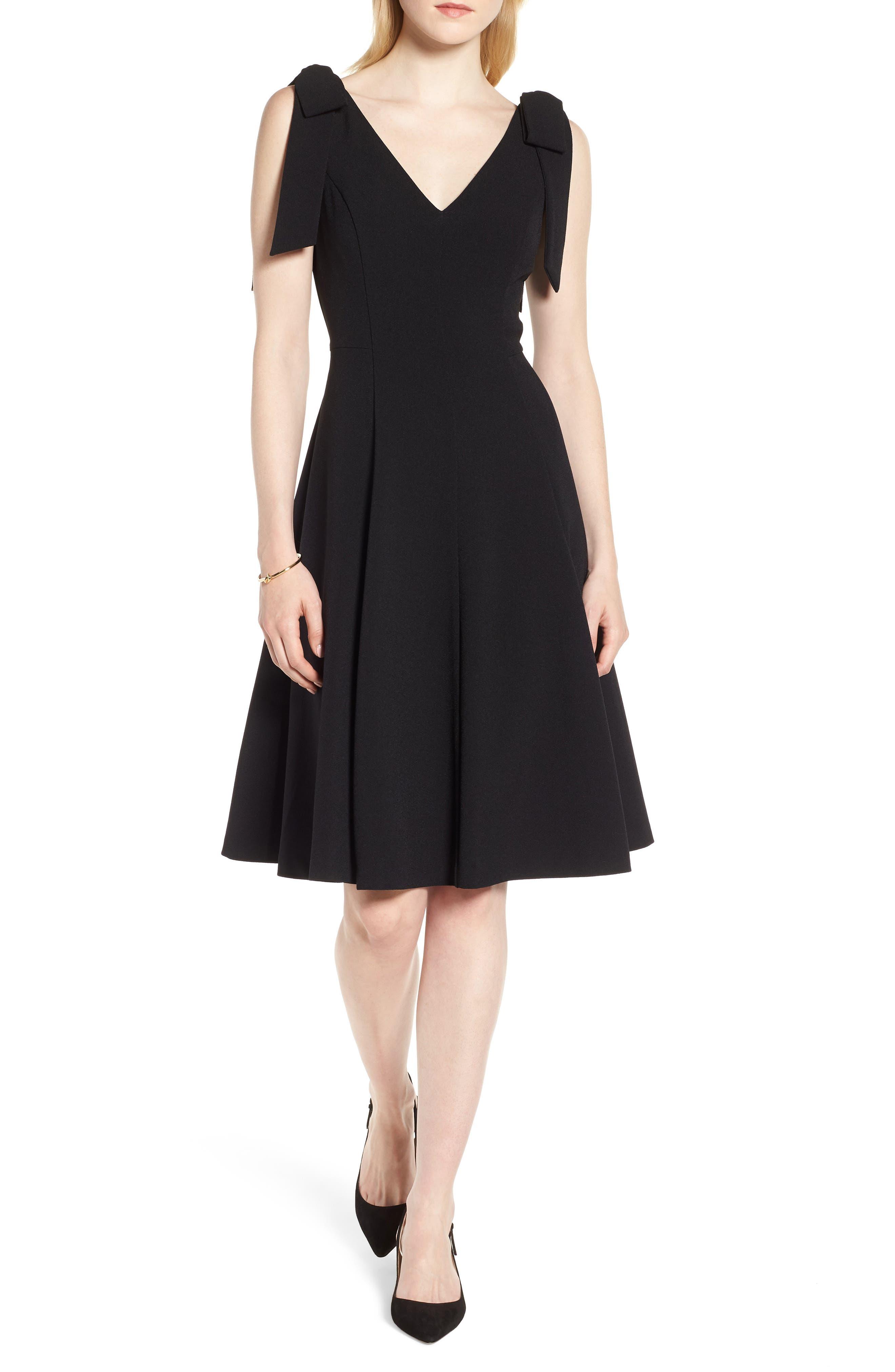 Tie Shoulder Fit & Flare Dress,                         Main,                         color, Black