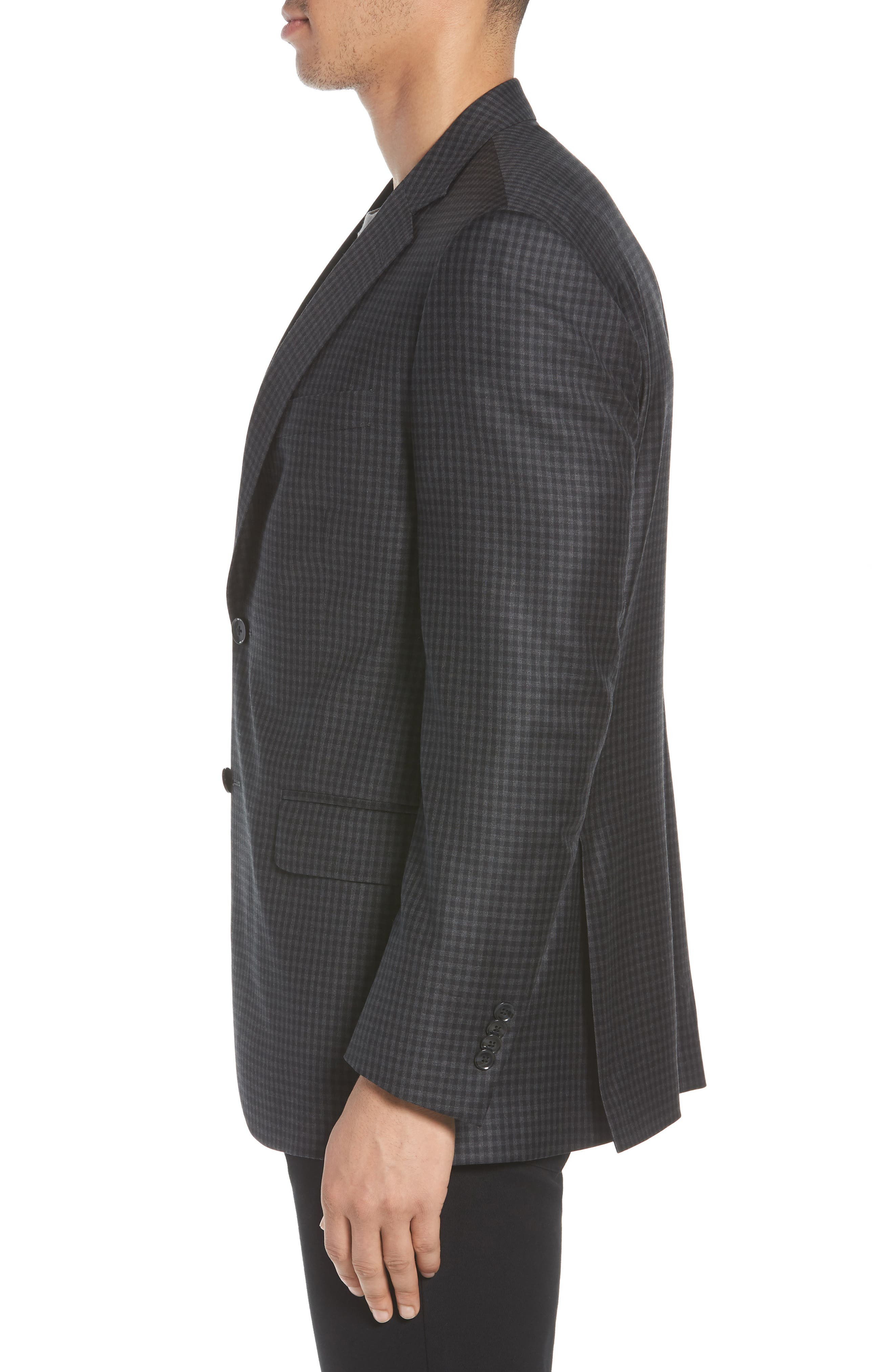 Classic Fit Check Wool Sport Coat,                             Alternate thumbnail 3, color,                             Charcoal