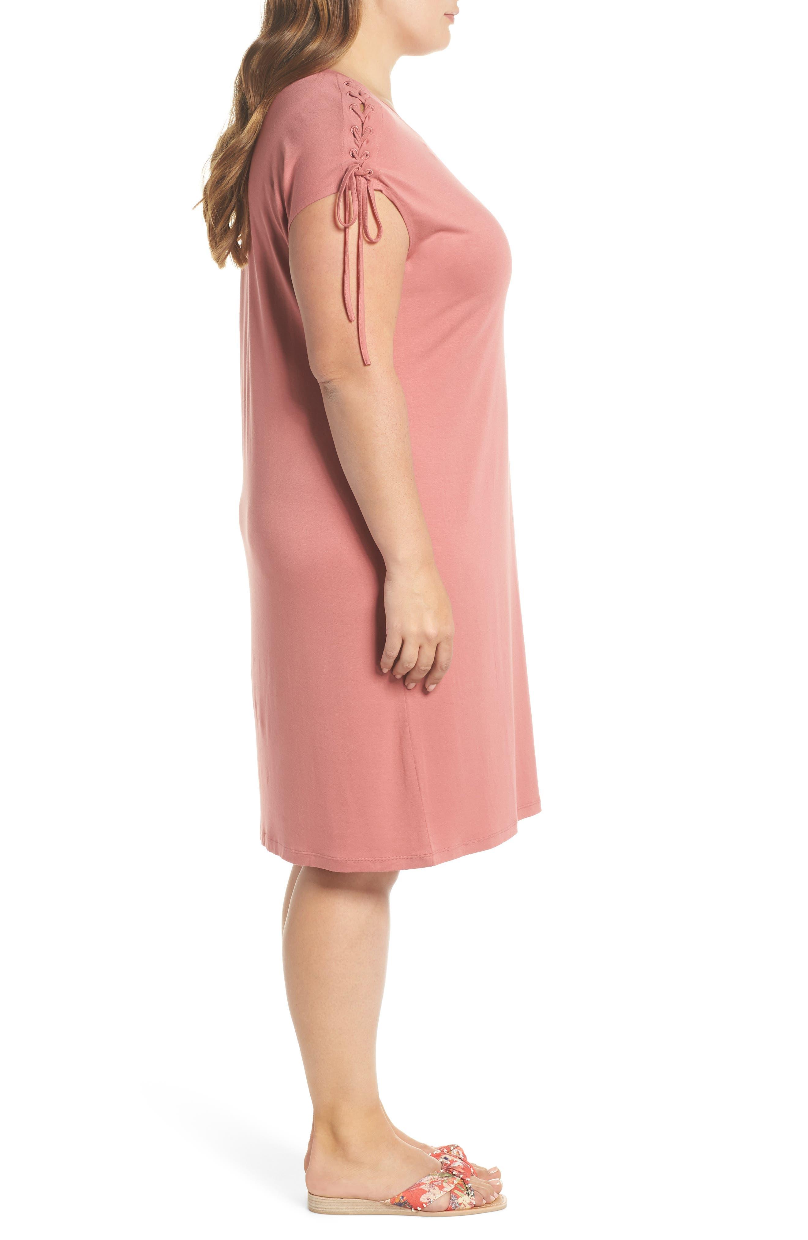 Lace-Up Shoulder T-Shirt Dress,                             Alternate thumbnail 3, color,                             Claret Shadow