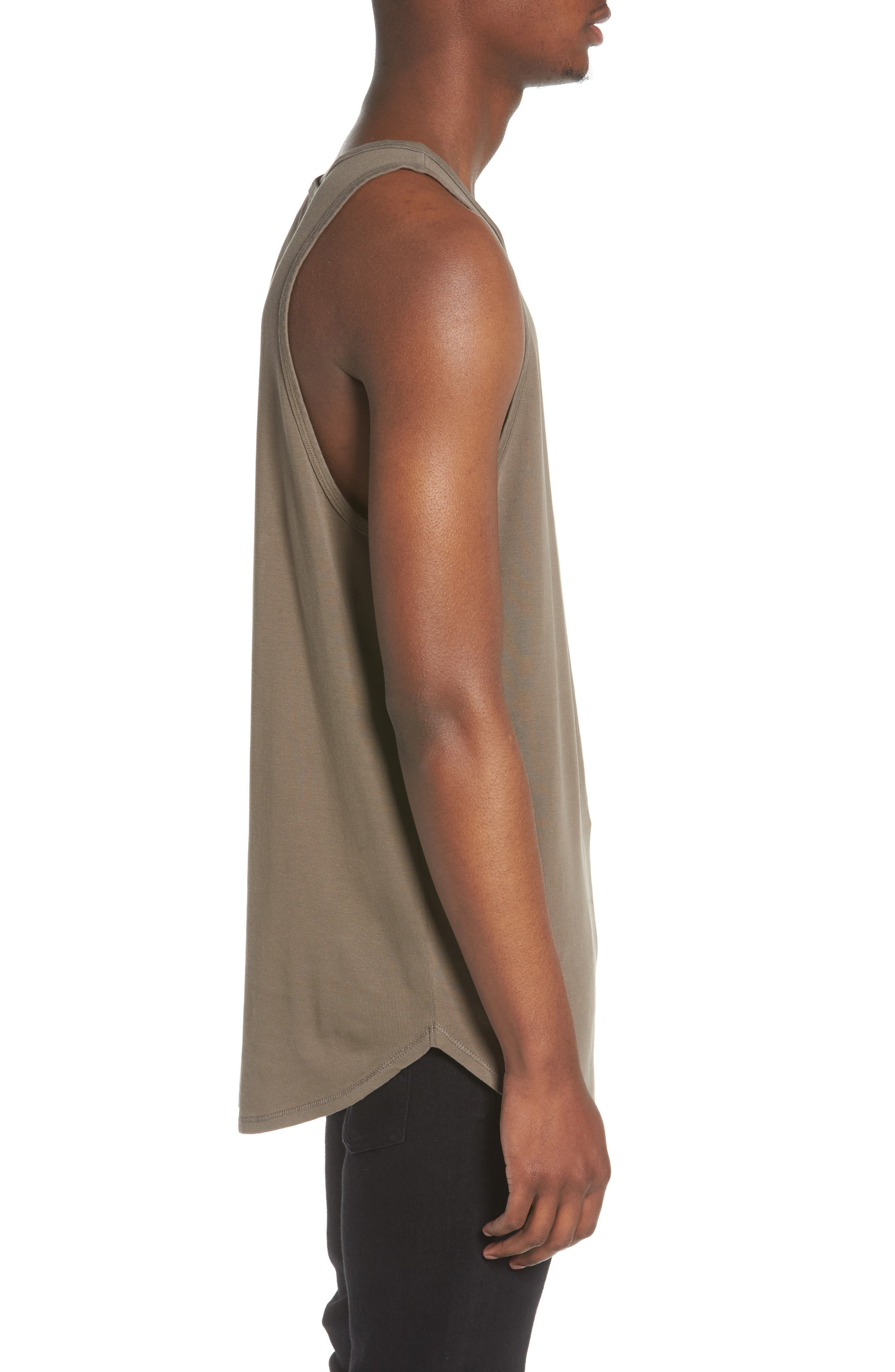 Longline Tank,                             Alternate thumbnail 3, color,                             Olive Brown