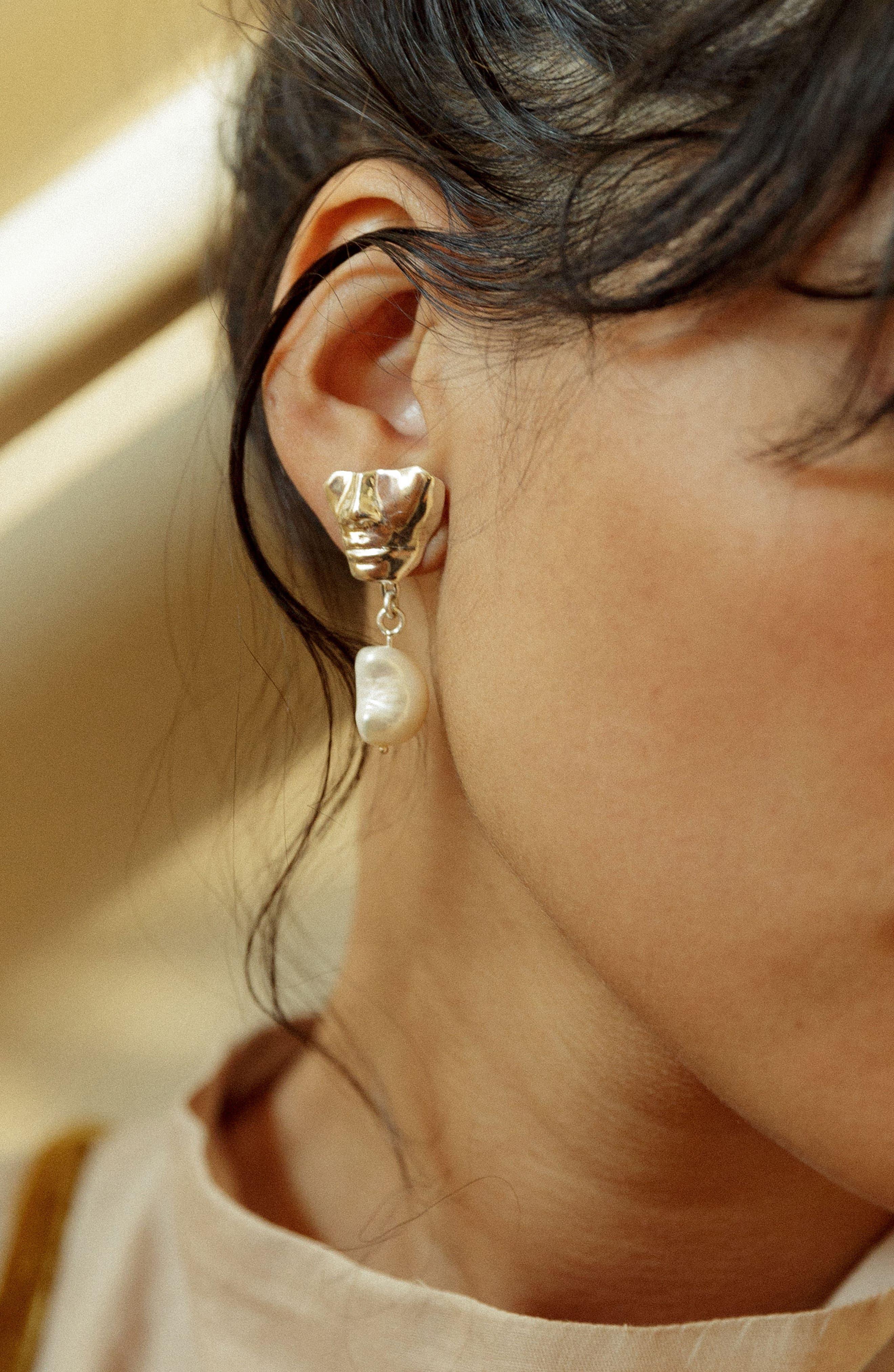 Portra Pearl Drop Earrings,                             Alternate thumbnail 6, color,                             Bronze