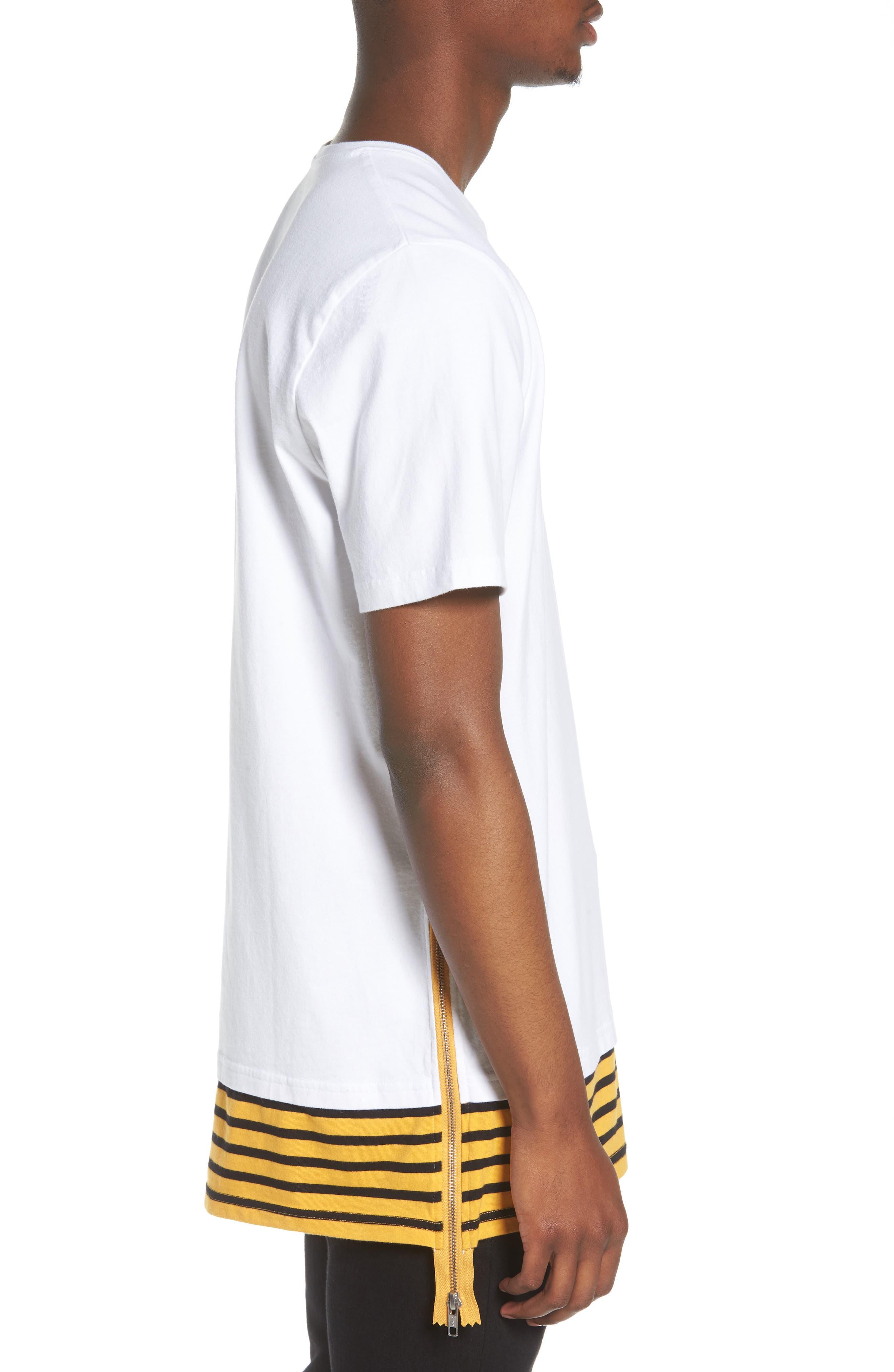 Elongated Stripe Side Zip T-Shirt,                             Alternate thumbnail 5, color,                             White
