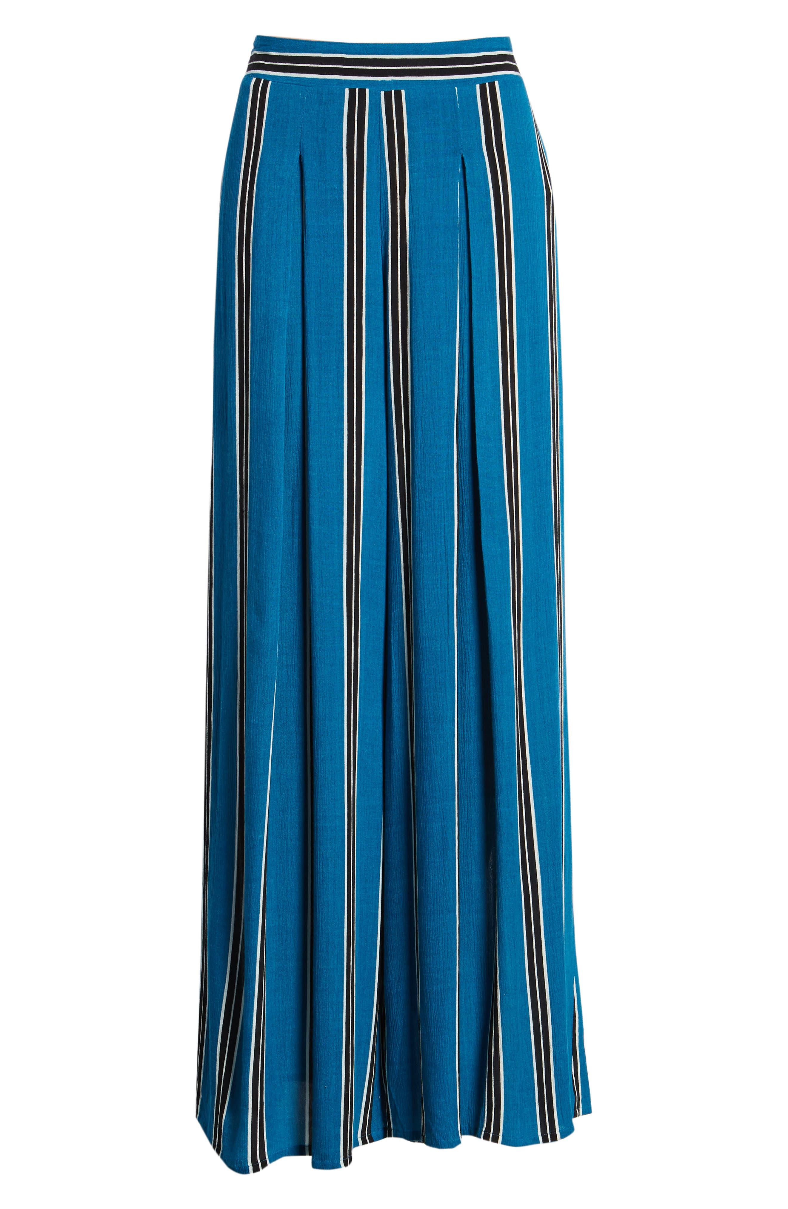 Stripe Wide Leg Pants,                             Alternate thumbnail 8, color,                             Blue/ Black
