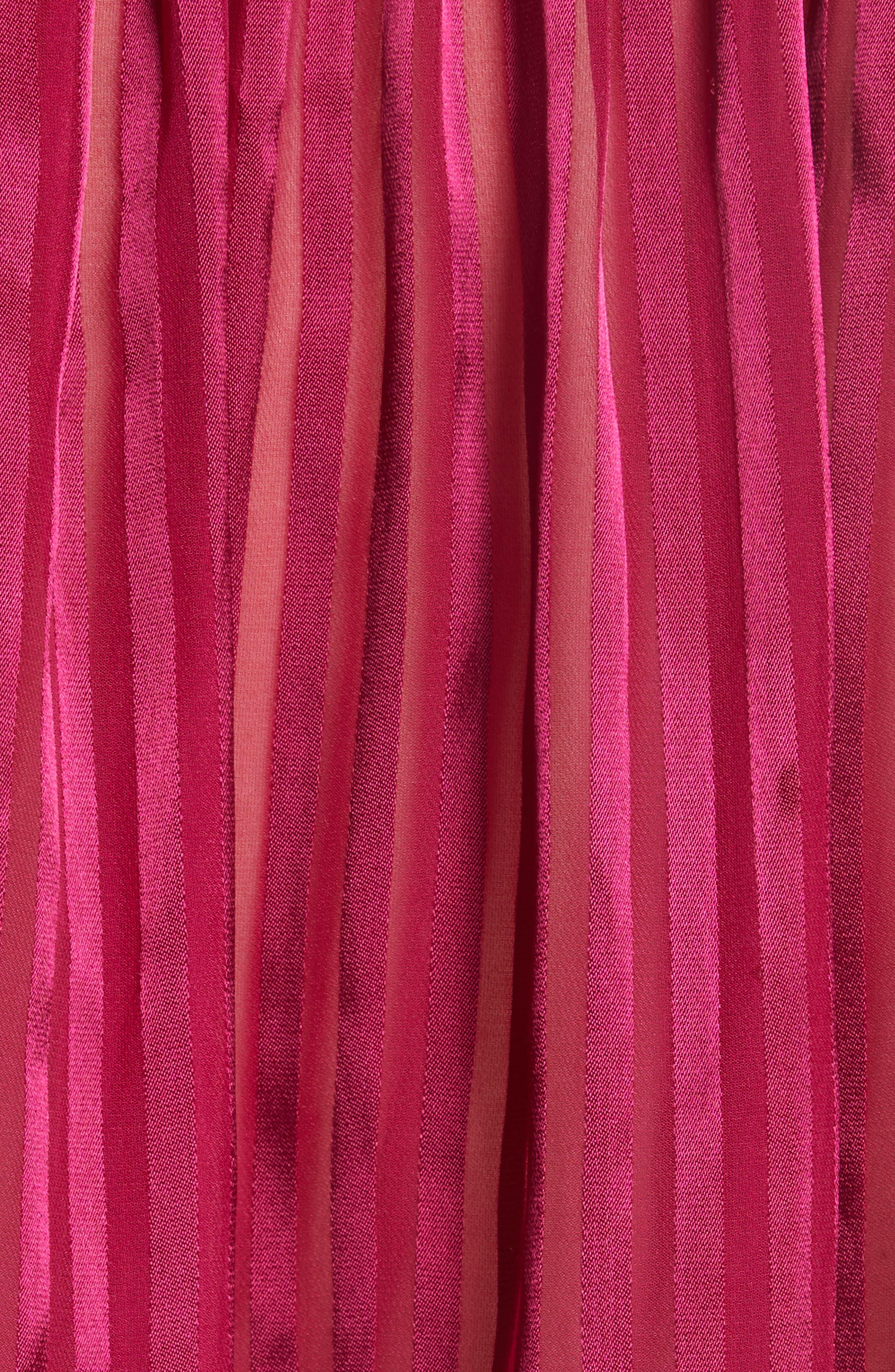 Danika Tie Neck Blouse,                             Alternate thumbnail 3, color,                             Mini Stripe/ Raspberry