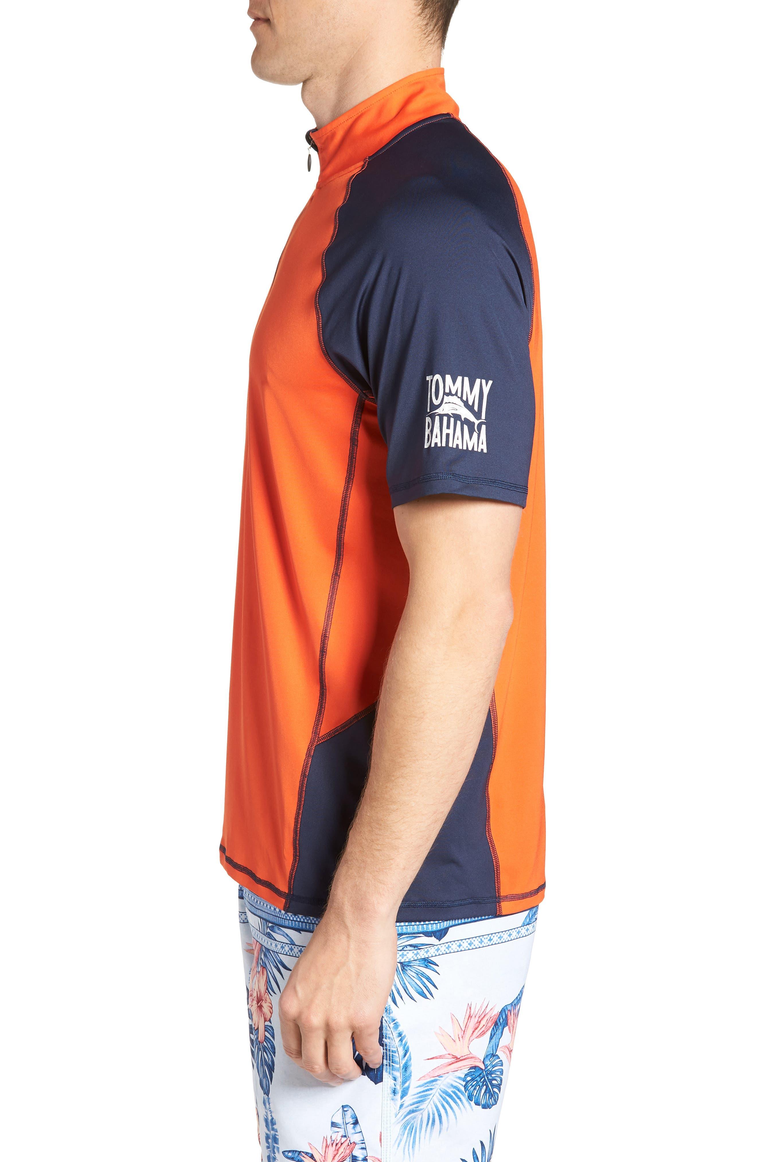 IslandActive<sup>™</sup> Colorblock Beach Pro Rashguard T-Shirt,                             Alternate thumbnail 3, color,                             Fire Orange