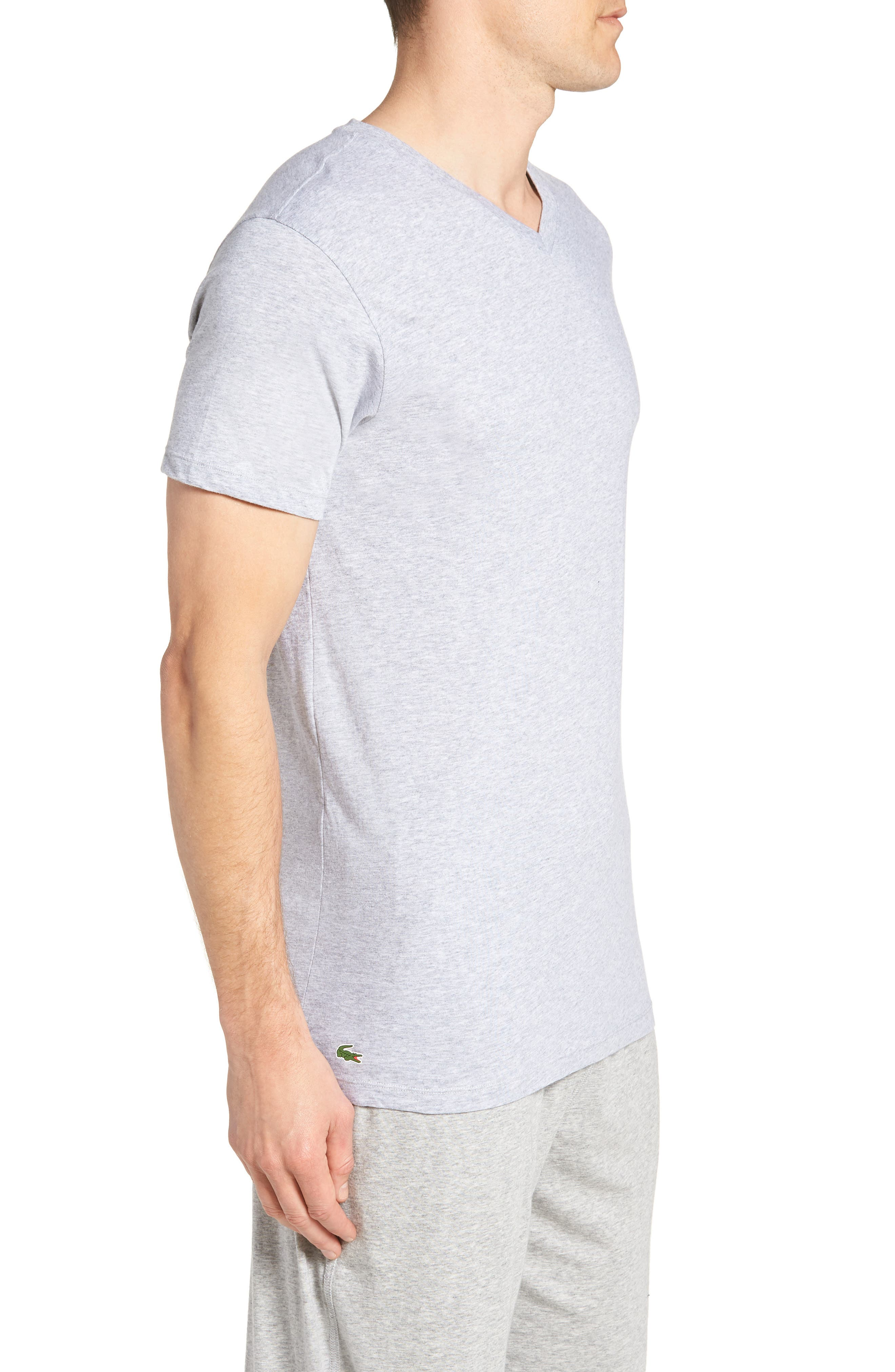 Assorted 3-Pack Supima<sup>®</sup> Cotton V-Neck T-Shirts,                             Alternate thumbnail 4, color,                             Black/ Grey/ White