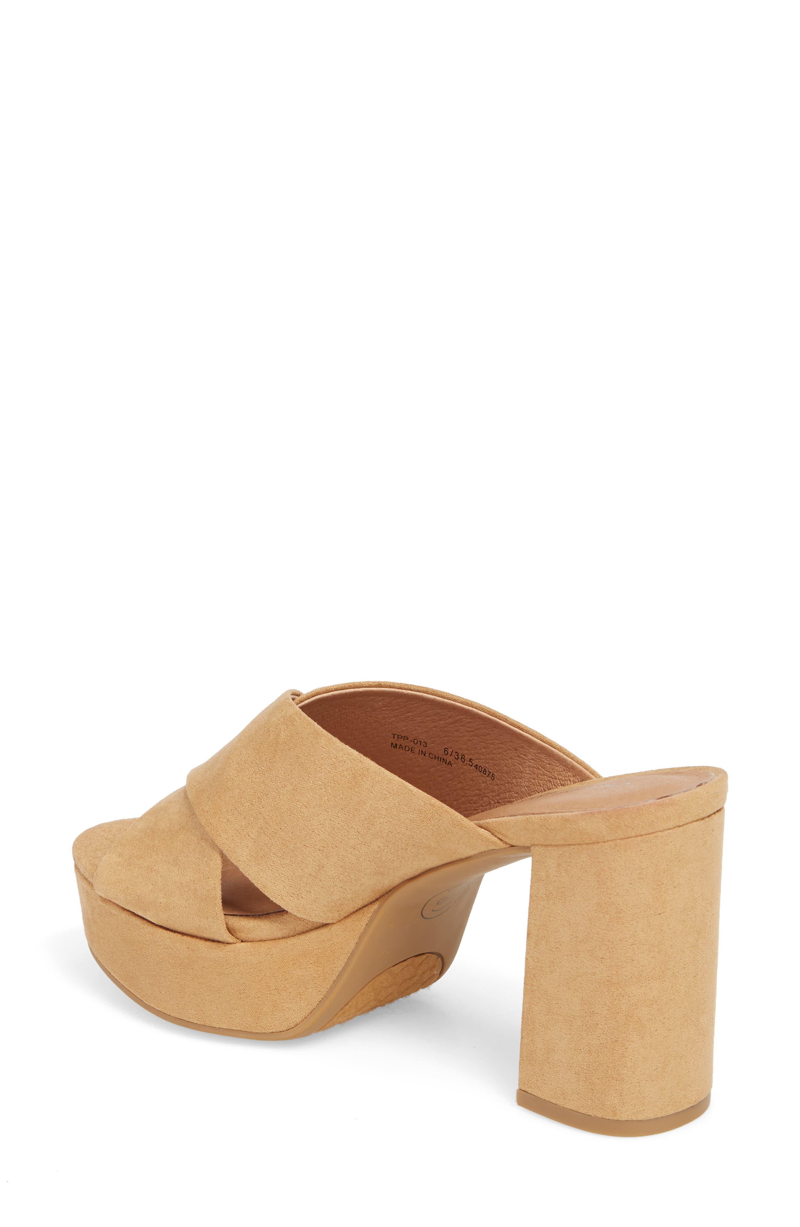 Teagan Cross Strap Platform Sandal,                             Alternate thumbnail 2, color,                             Camel