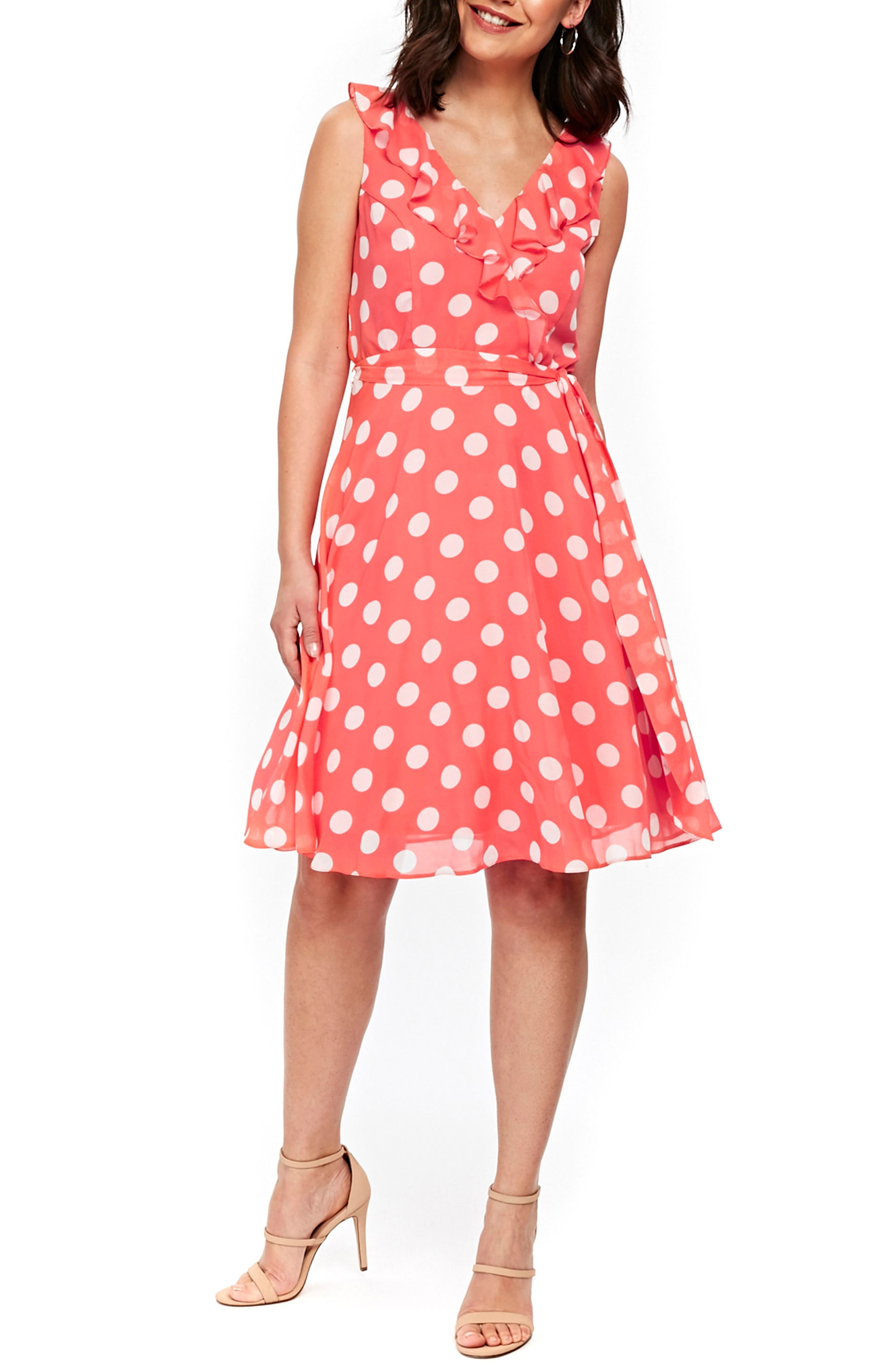 Ruffle Spot Fit & Flare Dress,                         Main,                         color, Coral