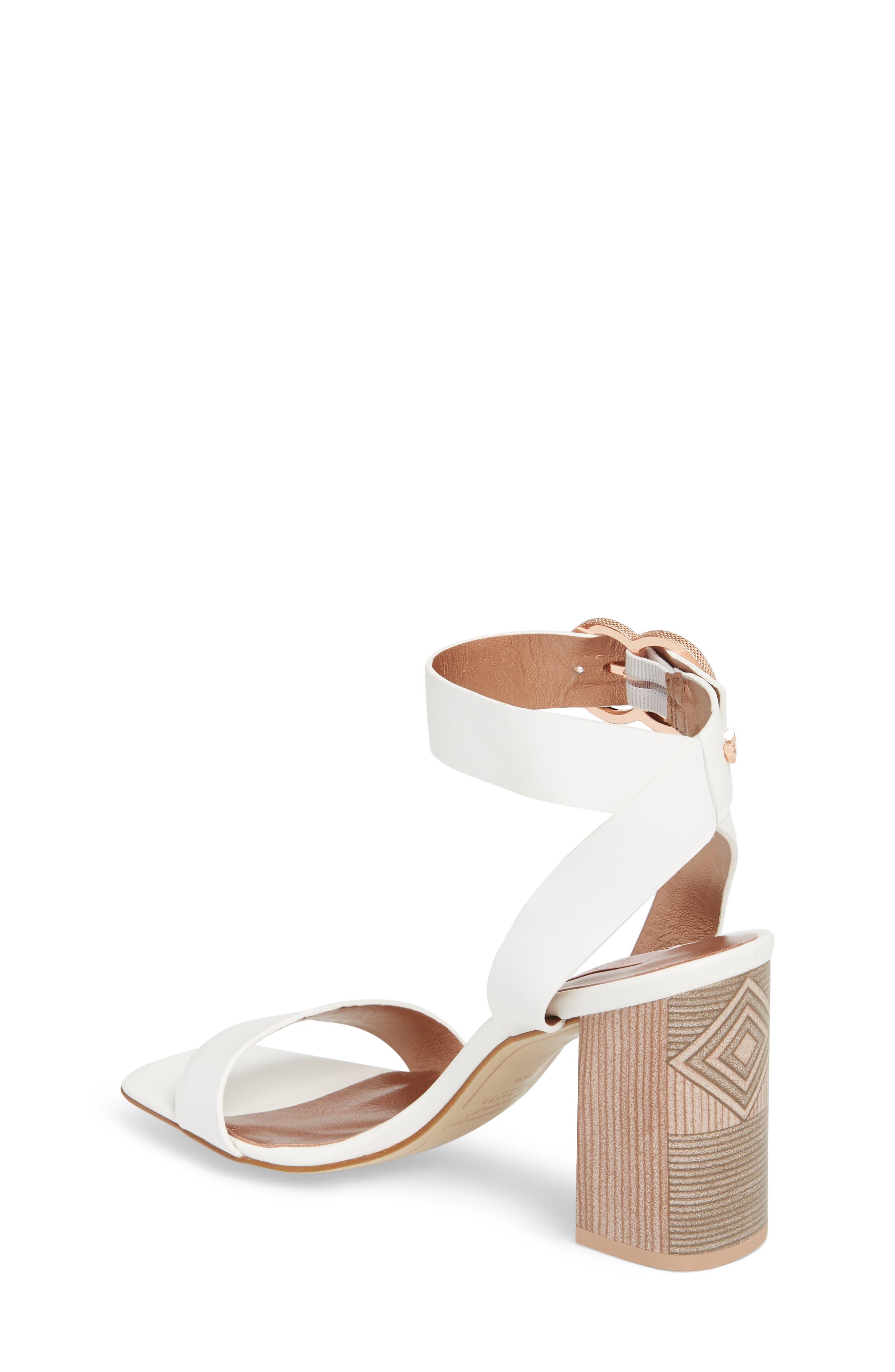 Vallama Block Heel Sandal,                             Alternate thumbnail 2, color,                             White Leather