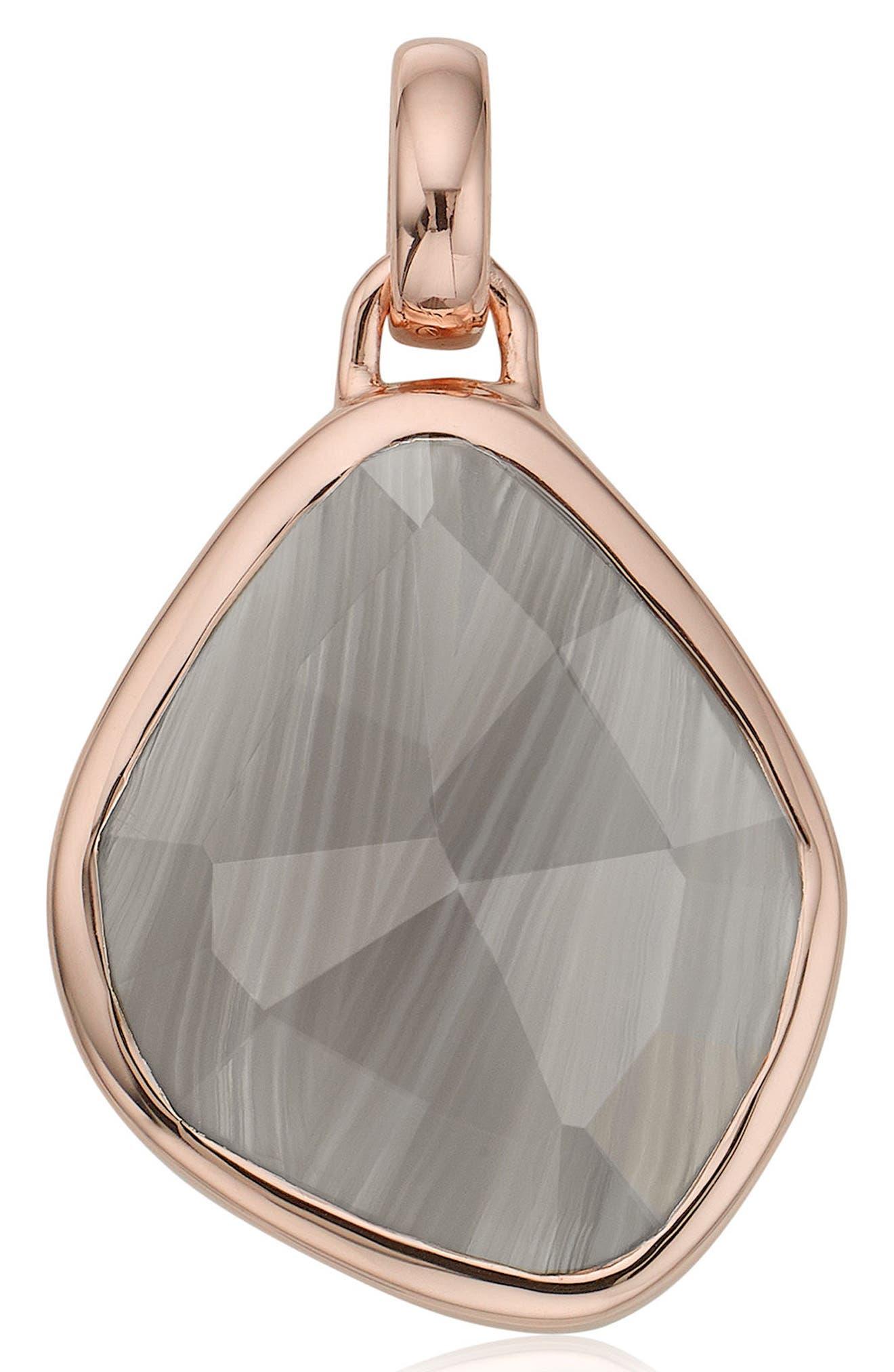 Siren Nugget Semiprecious Stone Pendant,                             Main thumbnail 1, color,                             Grey Agate/ Rose Gold