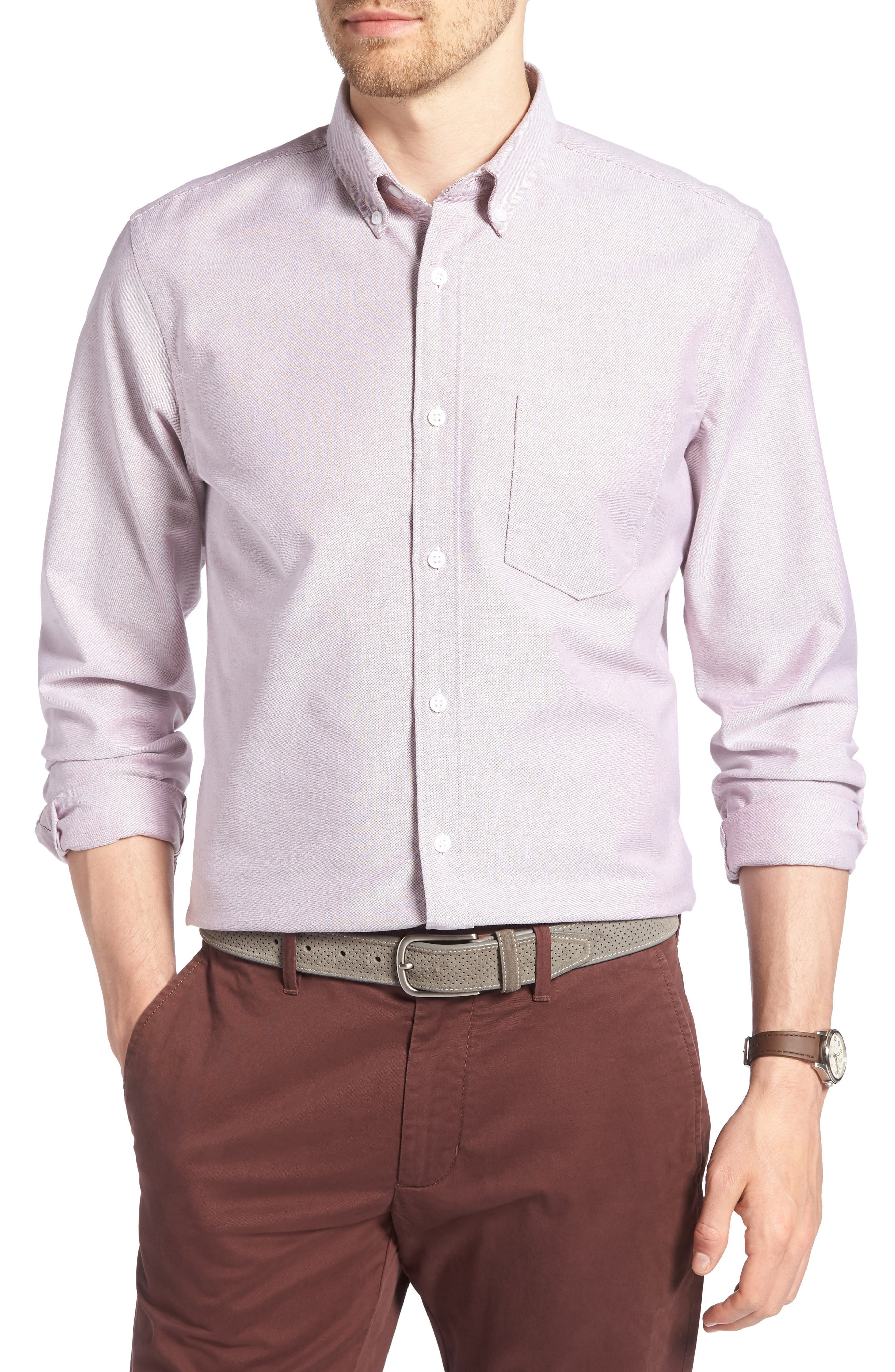 Trim Fit Washed Oxford Shirt,                             Main thumbnail 1, color,                             Burgundy London Oxford