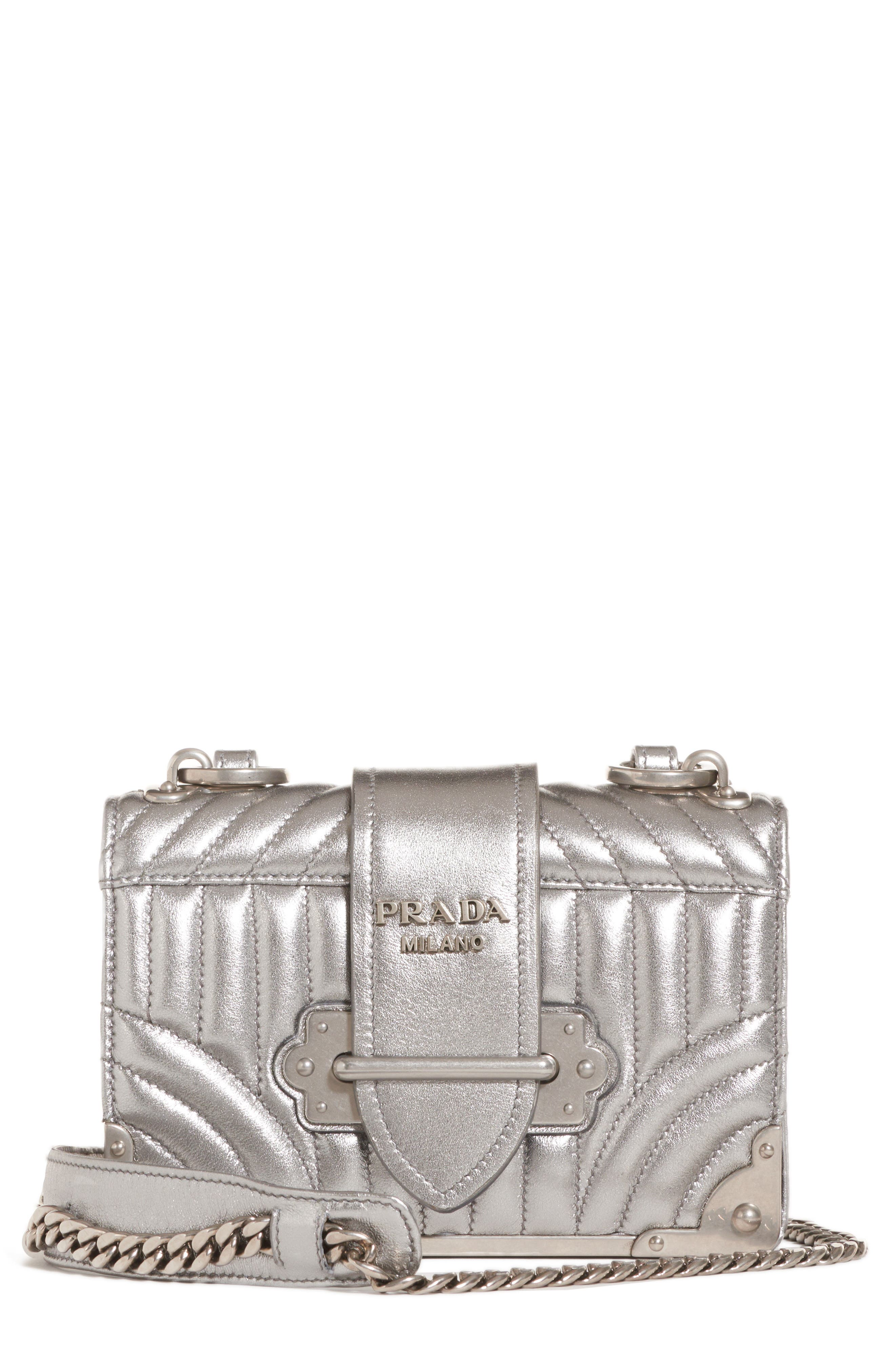 Prada Cahier Quilted Metallic Leather Crossbody Bag
