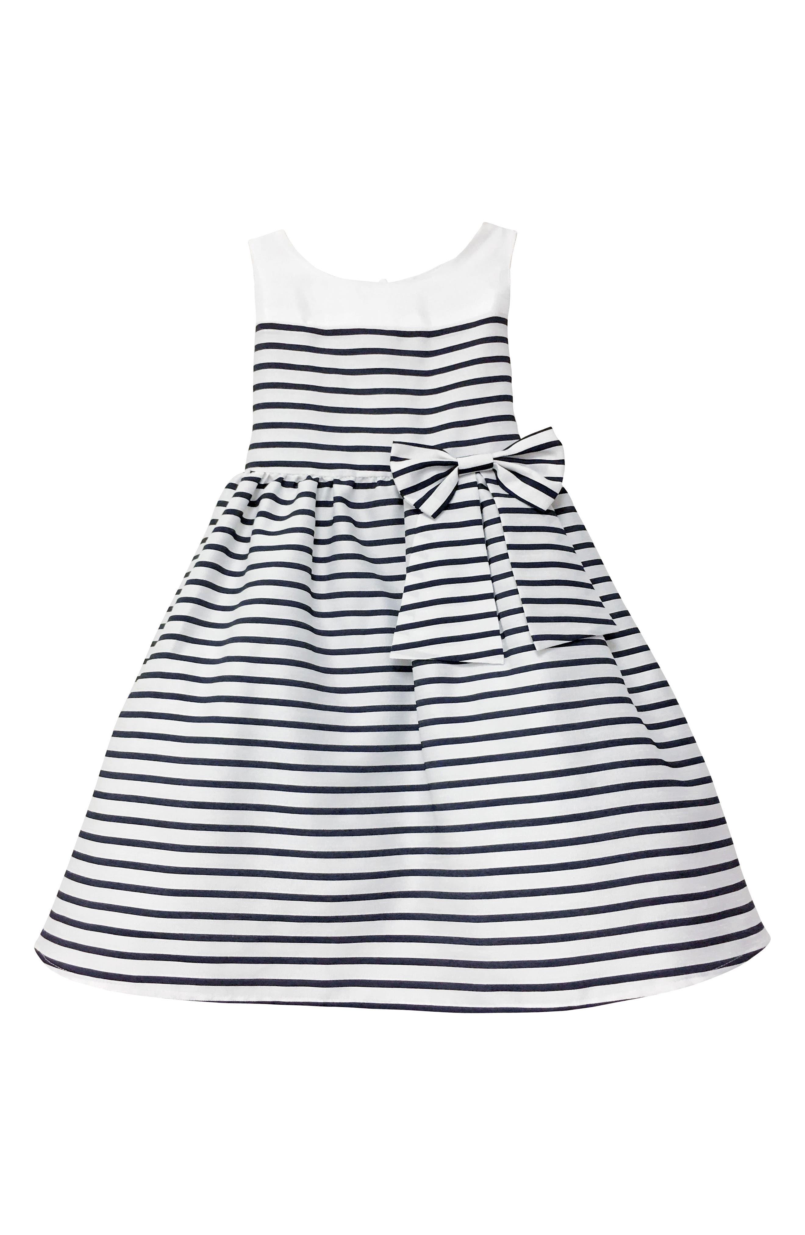 Kelly Stripe Fit & Flare Dress,                             Main thumbnail 1, color,                             Ivory/ White