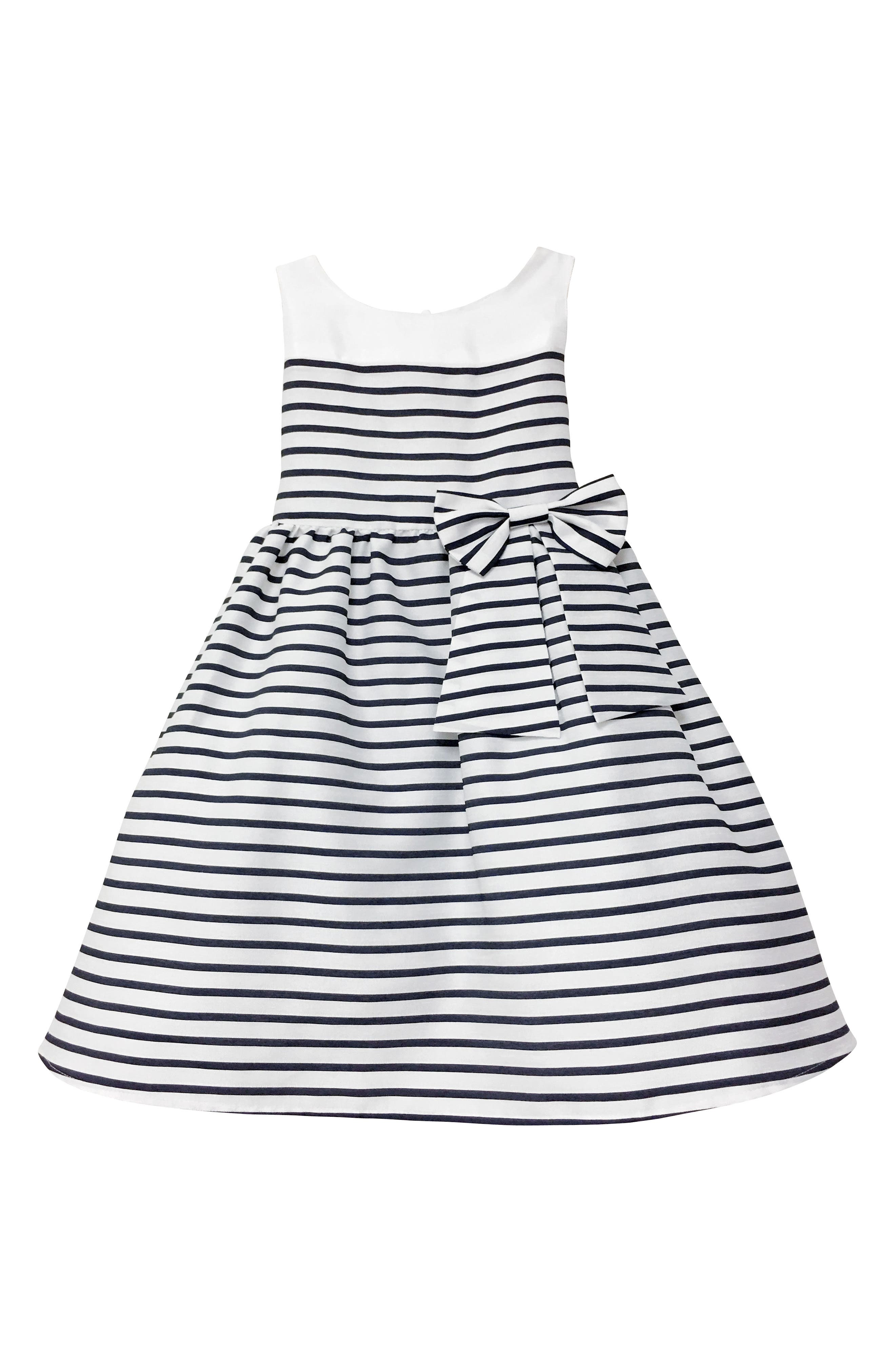 Kelly Stripe Fit & Flare Dress,                         Main,                         color, Ivory/ White