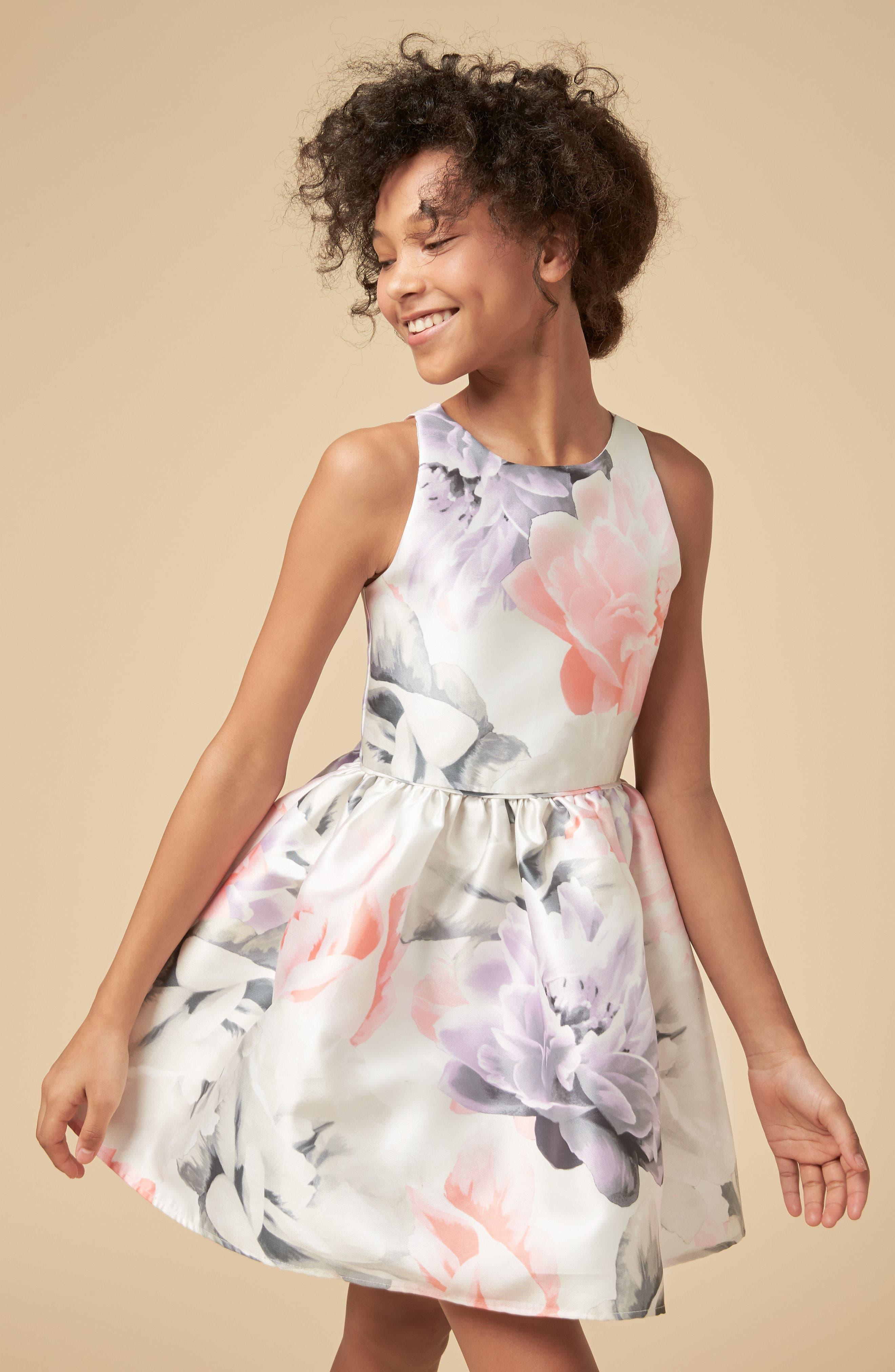 Floral Print Party Dress,                             Alternate thumbnail 4, color,