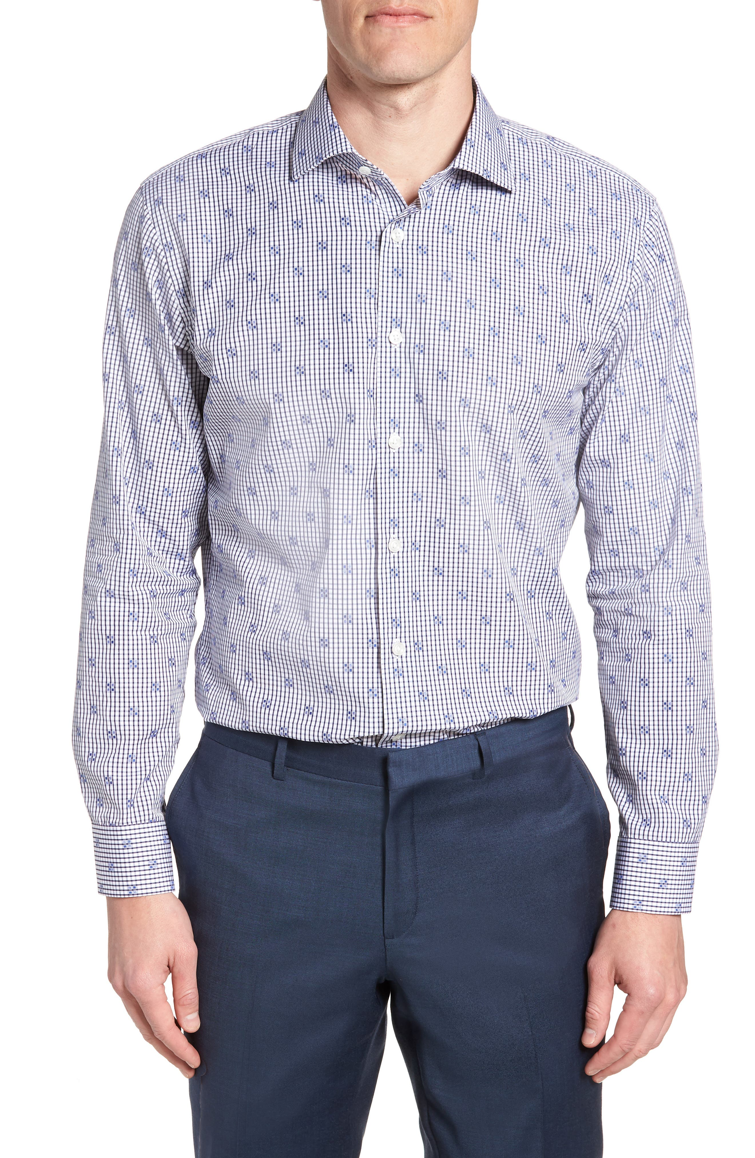 Trim Fit Check Dress Shirt,                         Main,                         color, Navy Iris