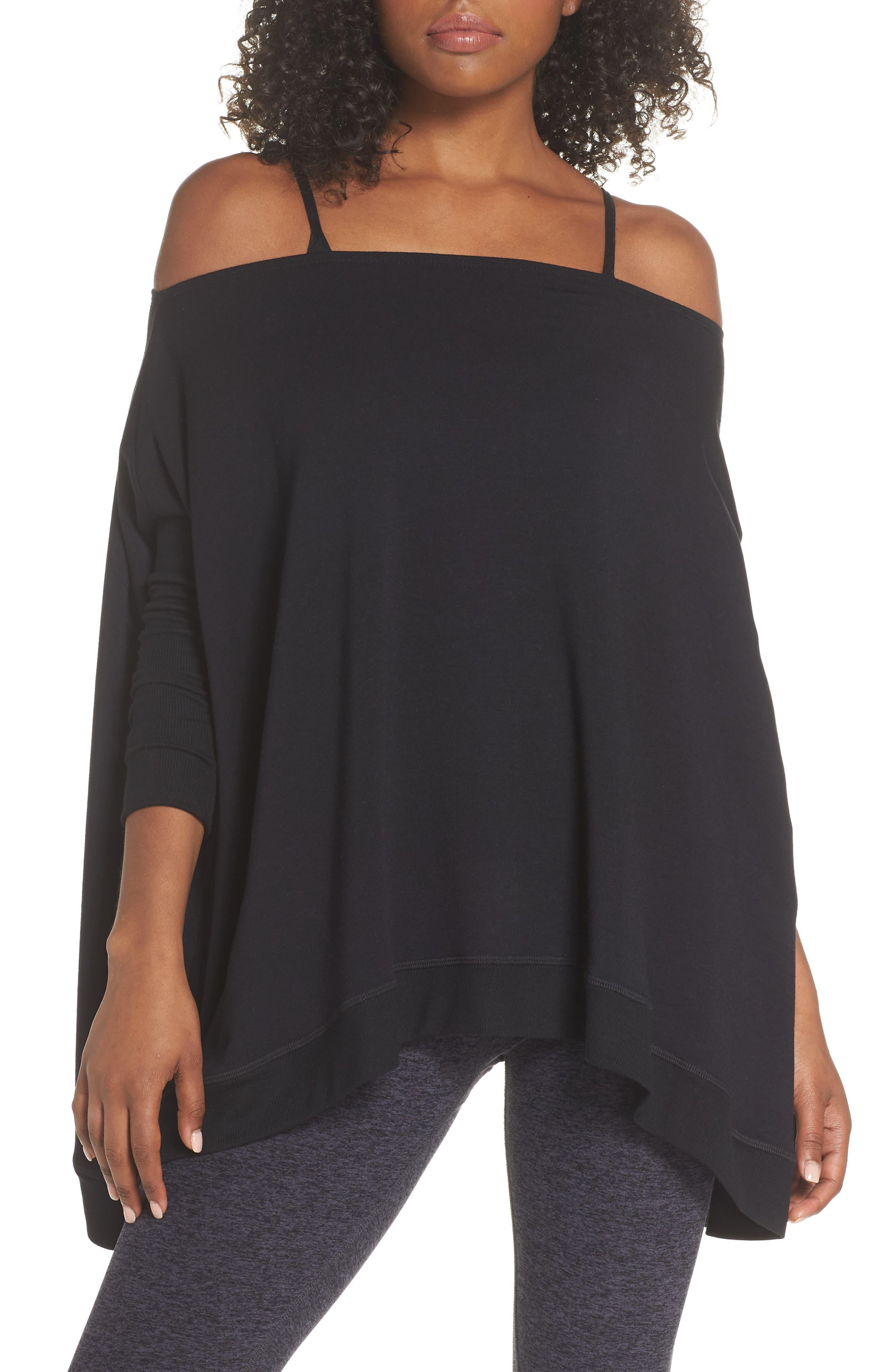 'Cozy' Convertible Fleece Pullover,                             Alternate thumbnail 3, color,                             Black