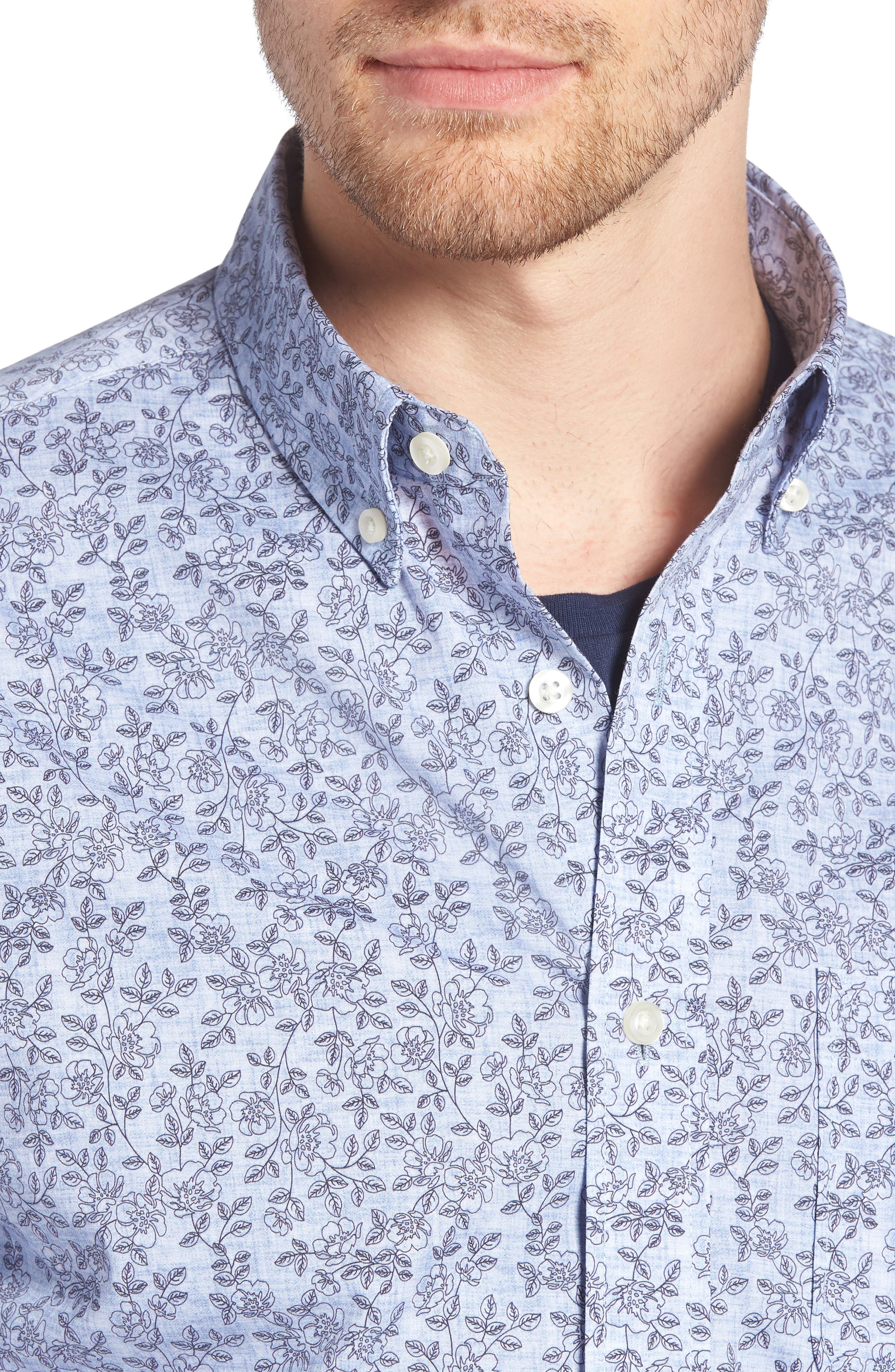 Trim Fit Chambray Floral Print Sport Shirt,                             Alternate thumbnail 2, color,                             Chambray Flower Print