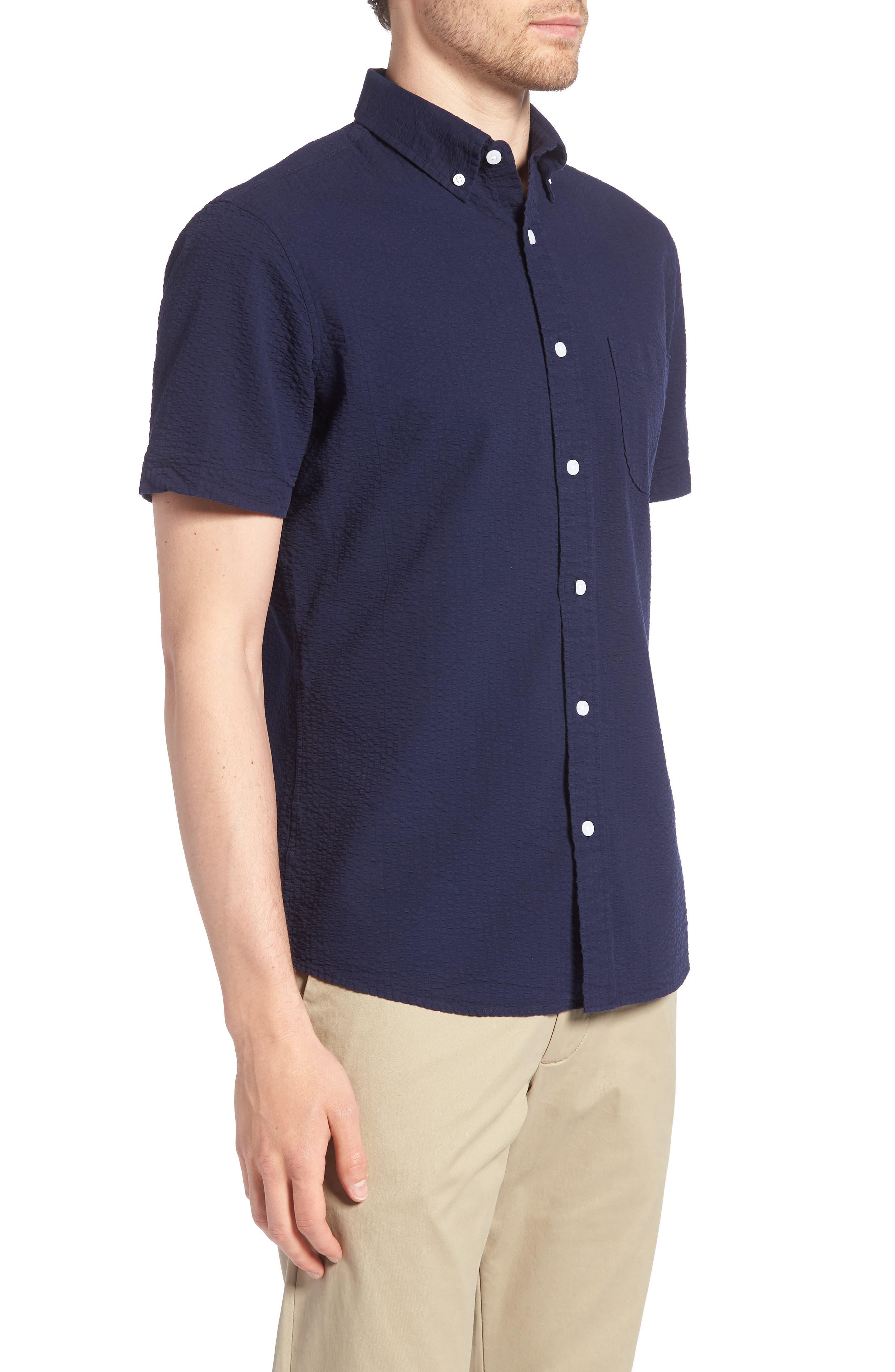 Trim Fit Seersucker Sport Shirt,                             Alternate thumbnail 4, color,                             Navy Iris Seersucker